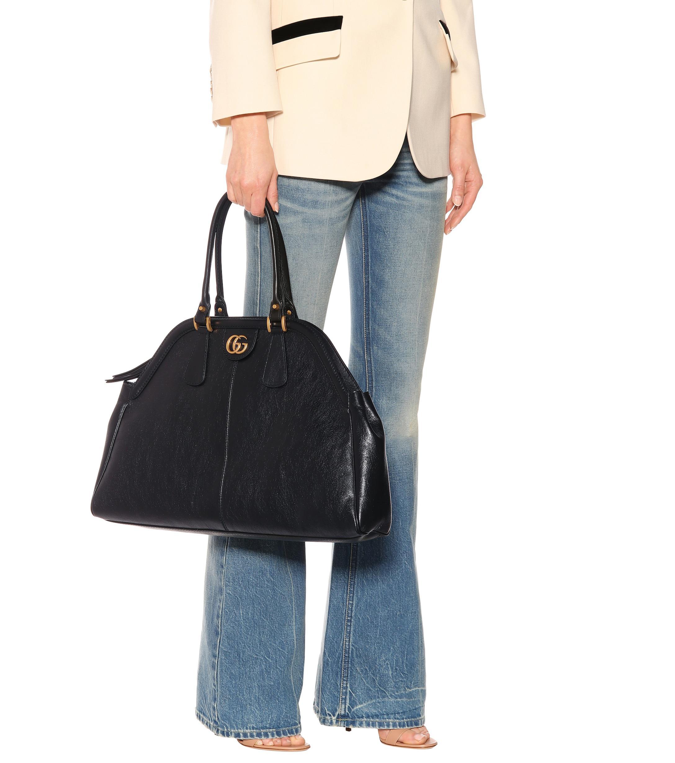 2a28970cd08 Lyst - Gucci Re(belle) Large Leather Shoulder Bag in Black - Save 38%
