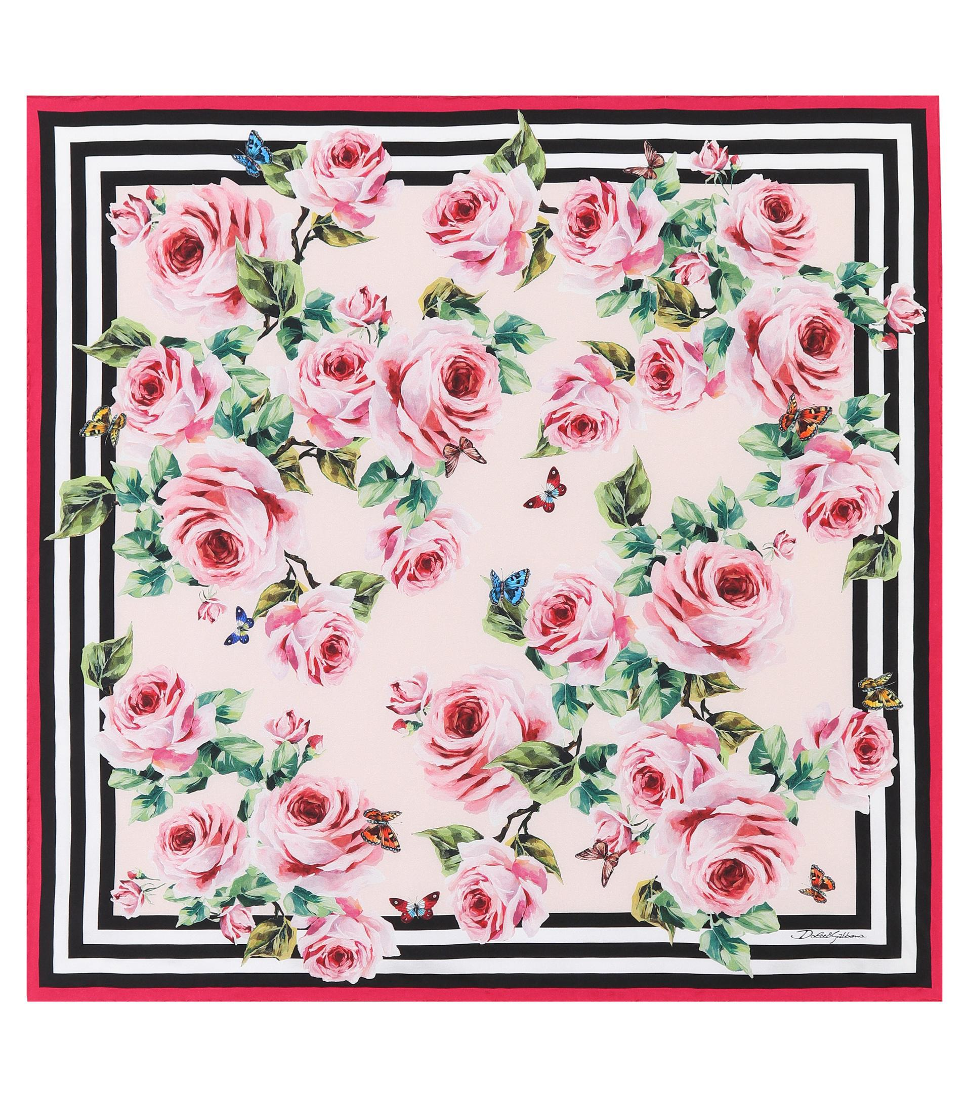 a02cf440 Dolce & Gabbana Floral-printed Silk Scarf in Pink - Lyst