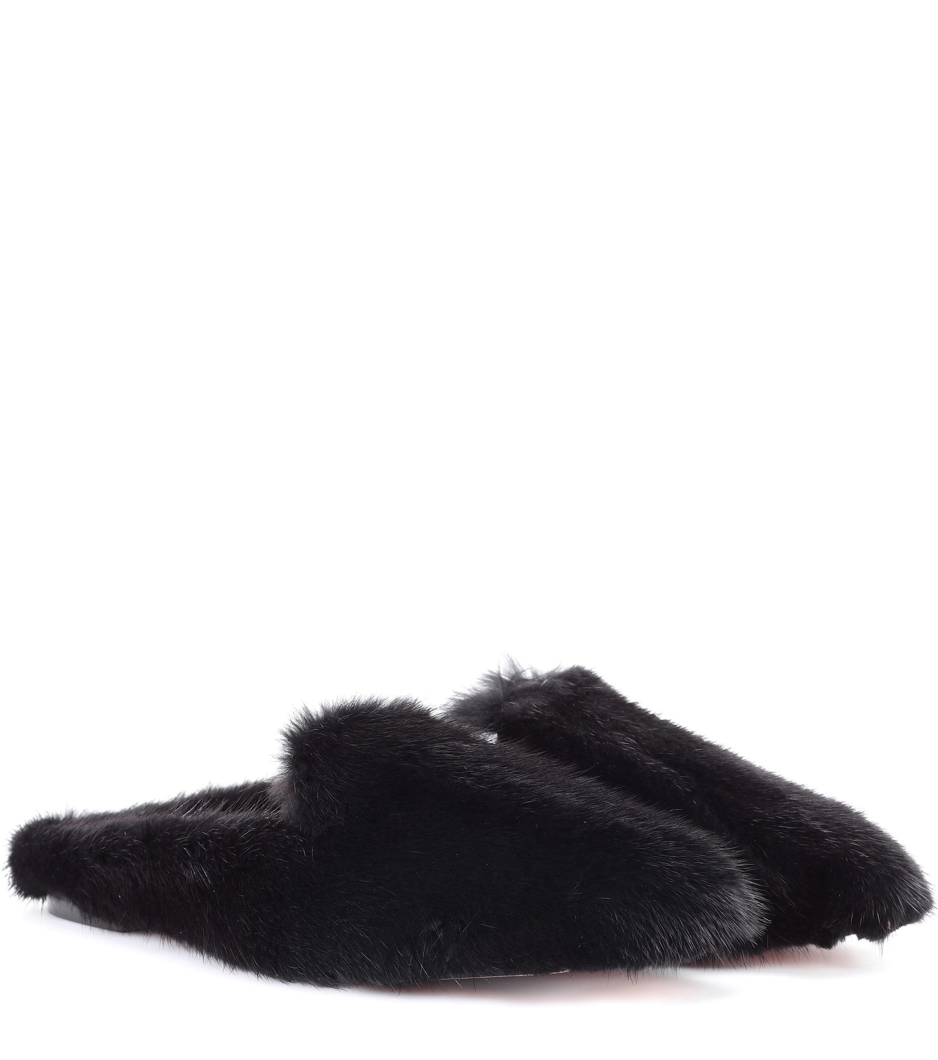 Aquazzura. Women's Black Purr Mink-fur Slippers