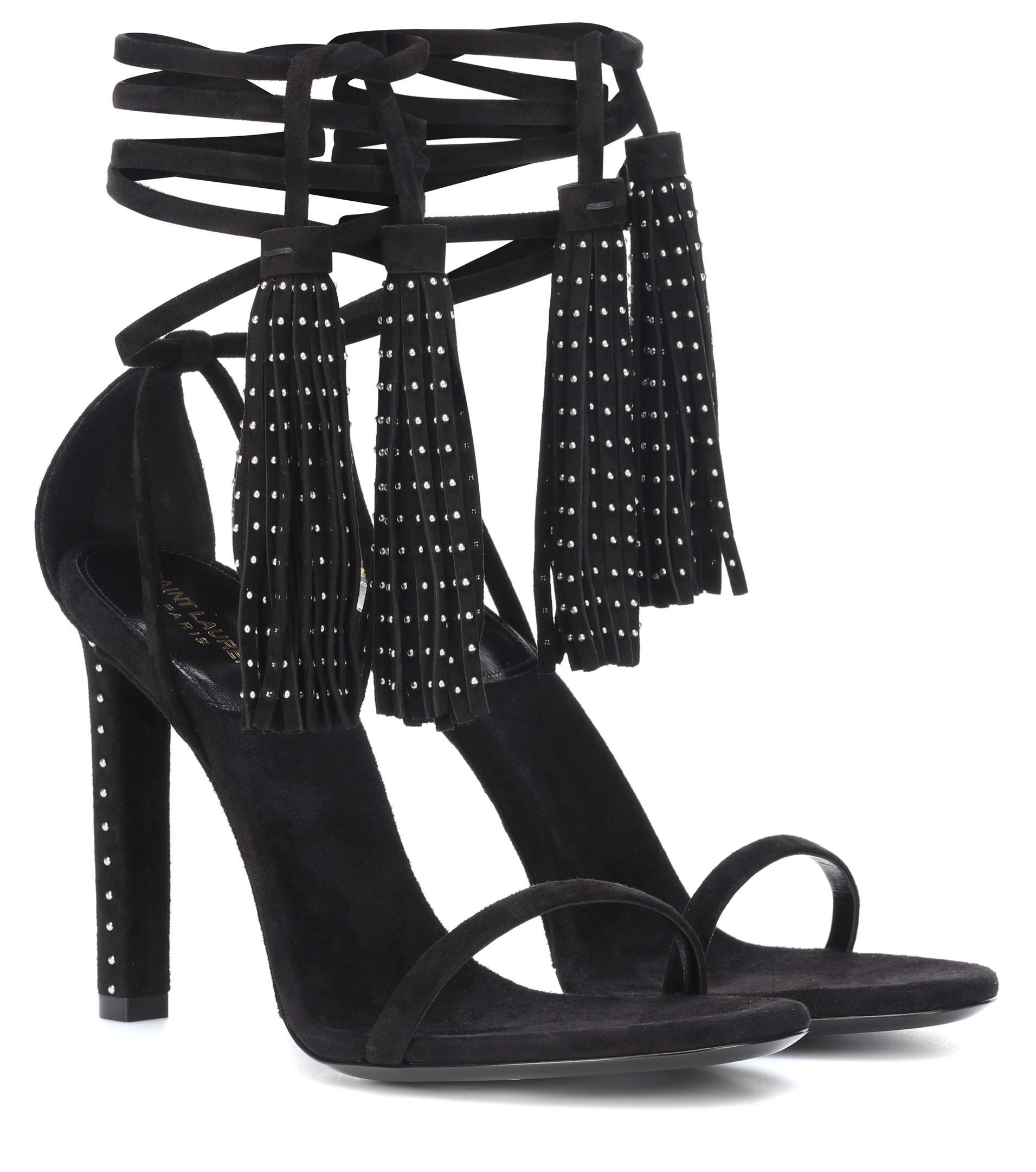 a5e29553582c Saint Laurent Linn Embellished Suede Sandals in Black - Lyst