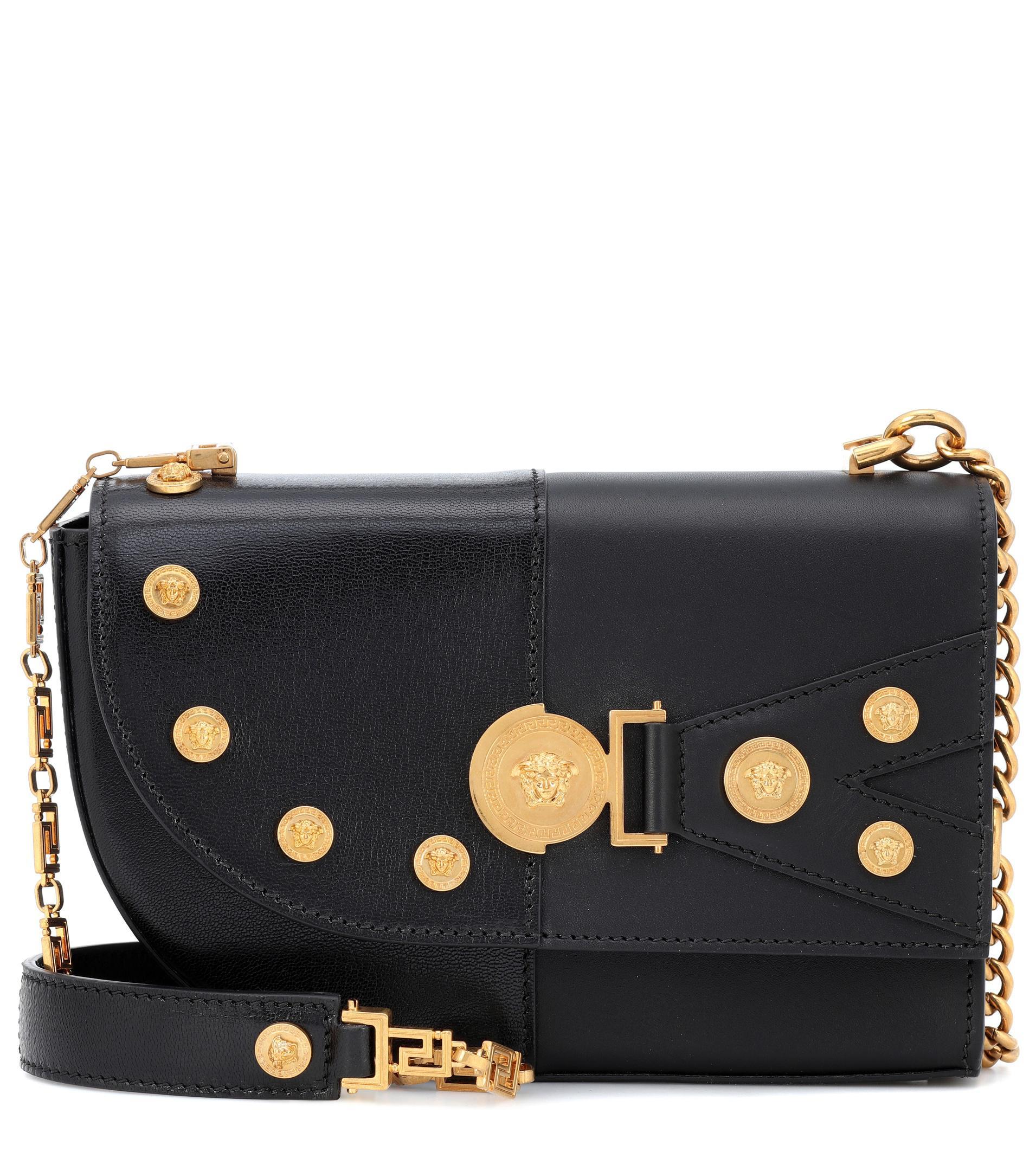 cfccf150 Versace The Clash Medium Leather Shoulder Bag in Black - Lyst