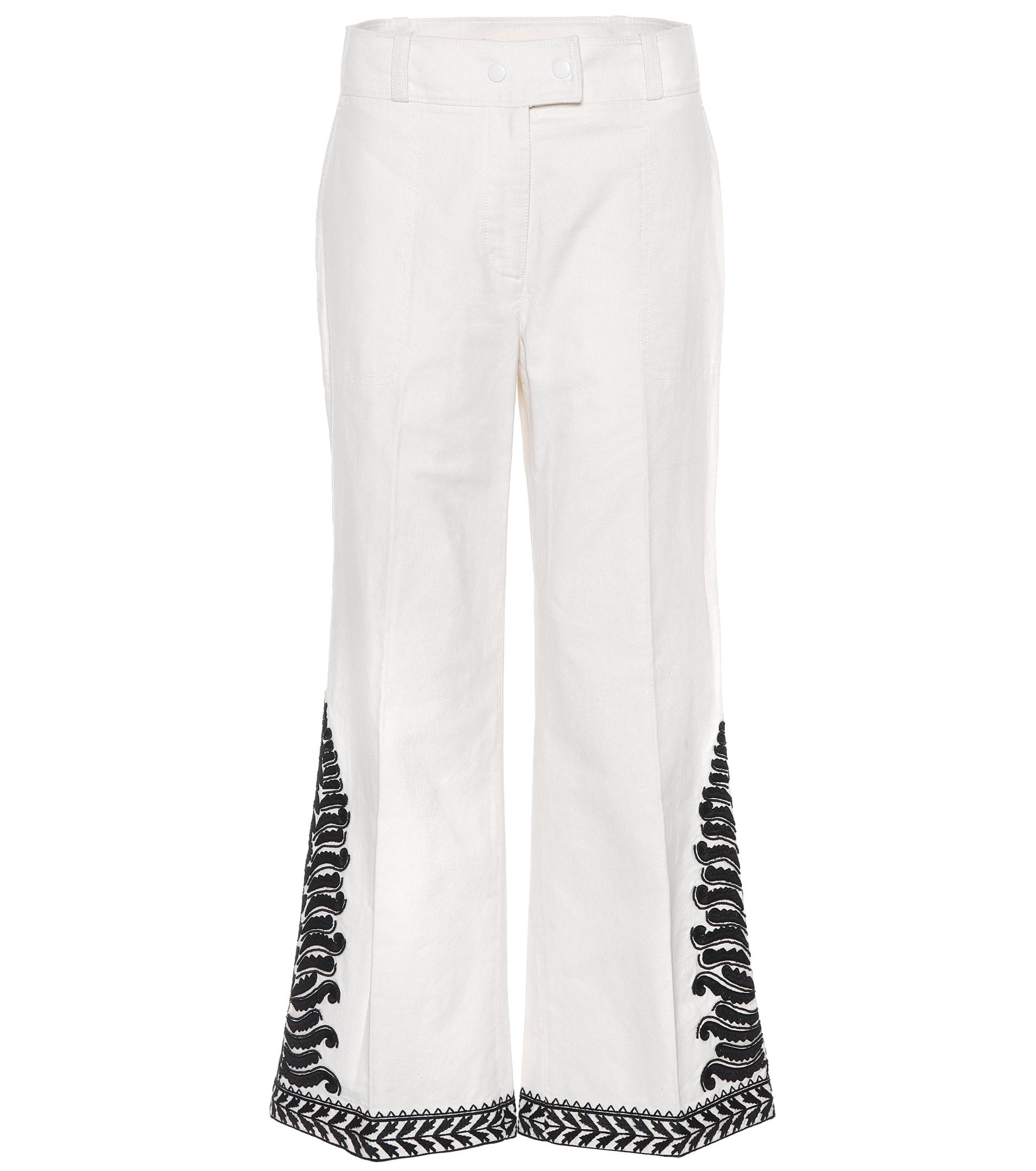 Pantalon en coton brodéTory Burch Confortable En Ligne YlgsMygOof