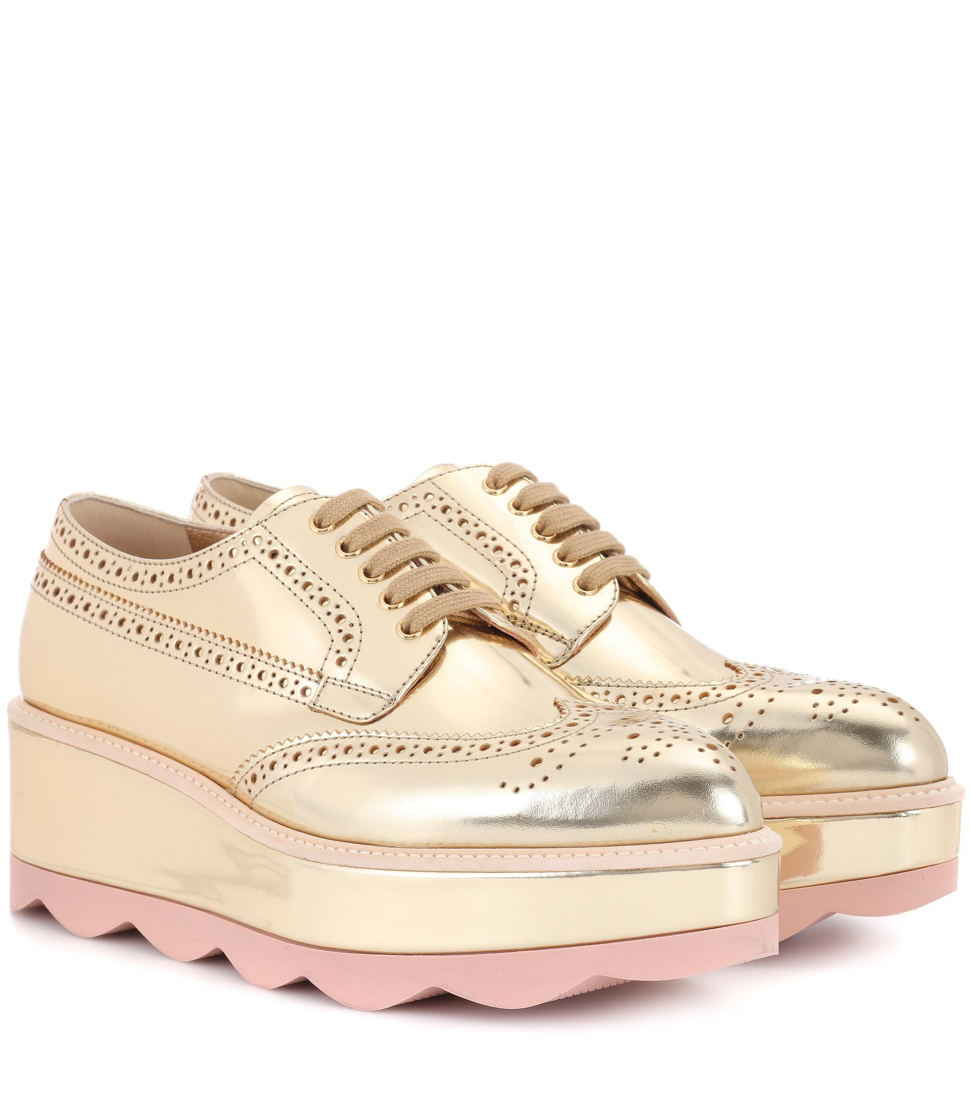 0f2746ff4078 Prada Leather Platform Oxford Shoes in Metallic - Lyst