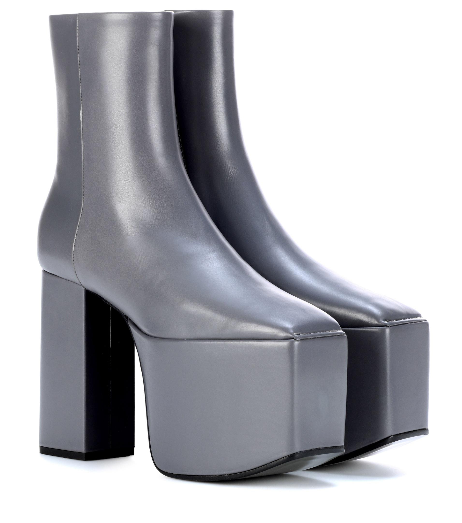 lyst balenciaga plateau leather ankle boots in gray. Black Bedroom Furniture Sets. Home Design Ideas