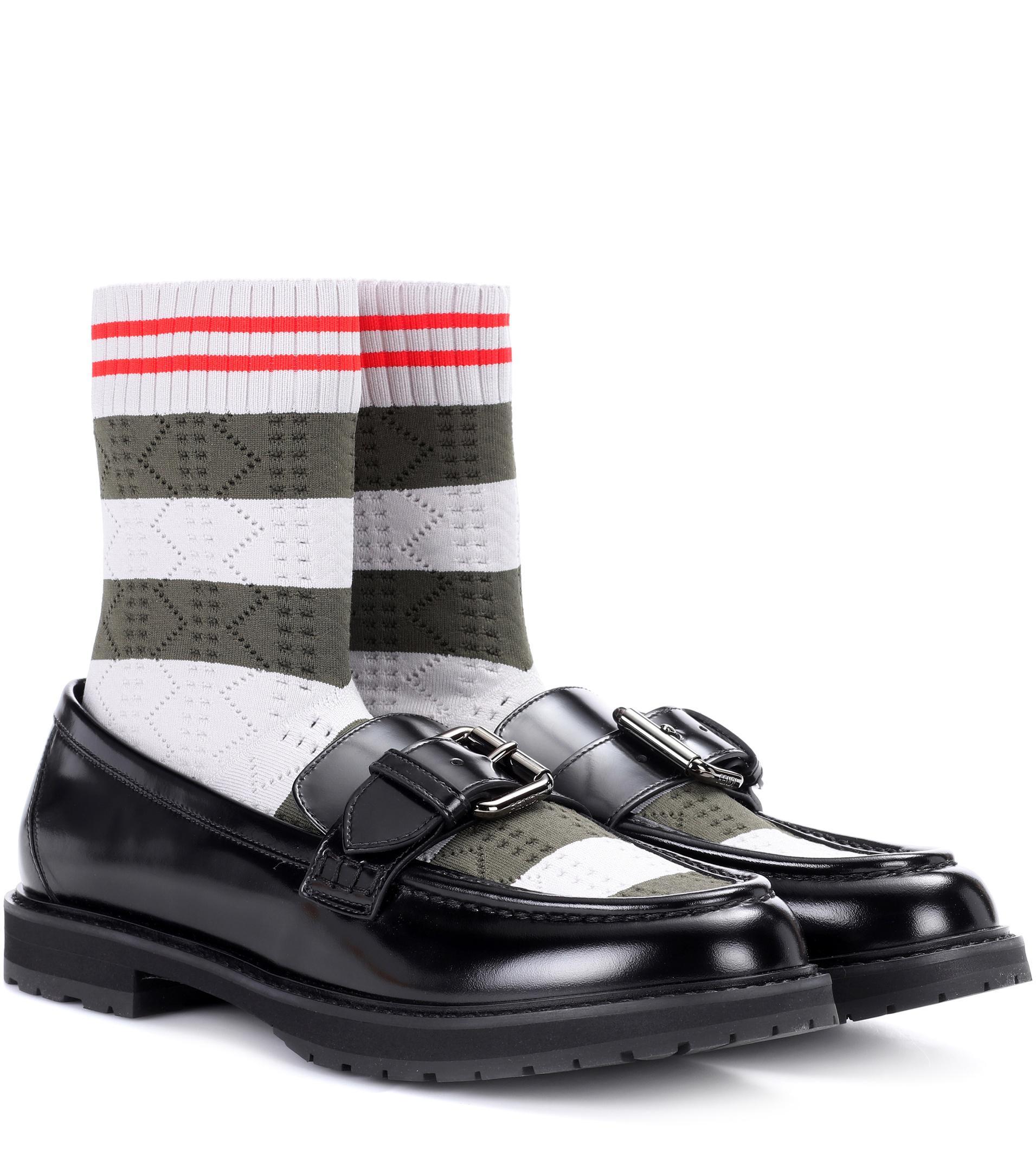 4f8f4c0792b Lyst fendi rockoko leather sock loafers in black jpg 1911x2160 Fendi loafers