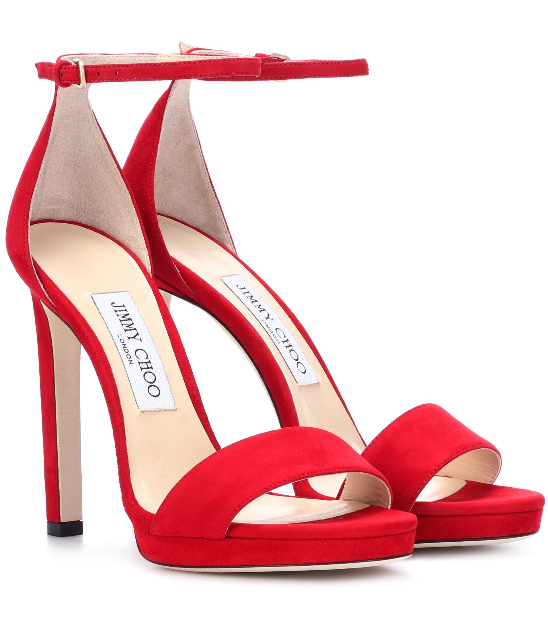 7dda563508b ... coupon code for jimmy choo red misty 120 suede sandals lyst. view  fullscreen 3edff b476d