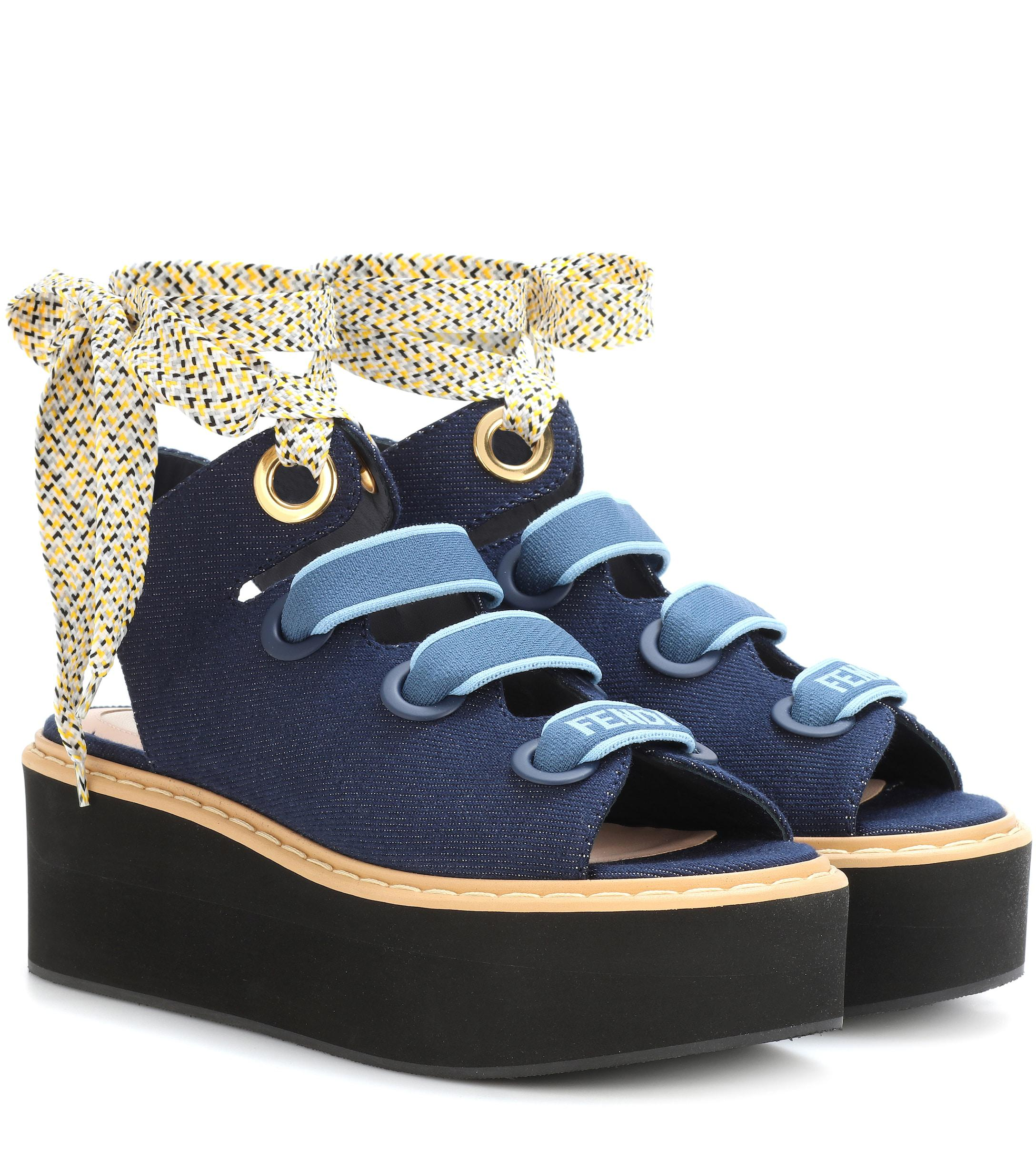 95ca1a48219aa Lyst - Fendi Denim Platform Sandals in Blue