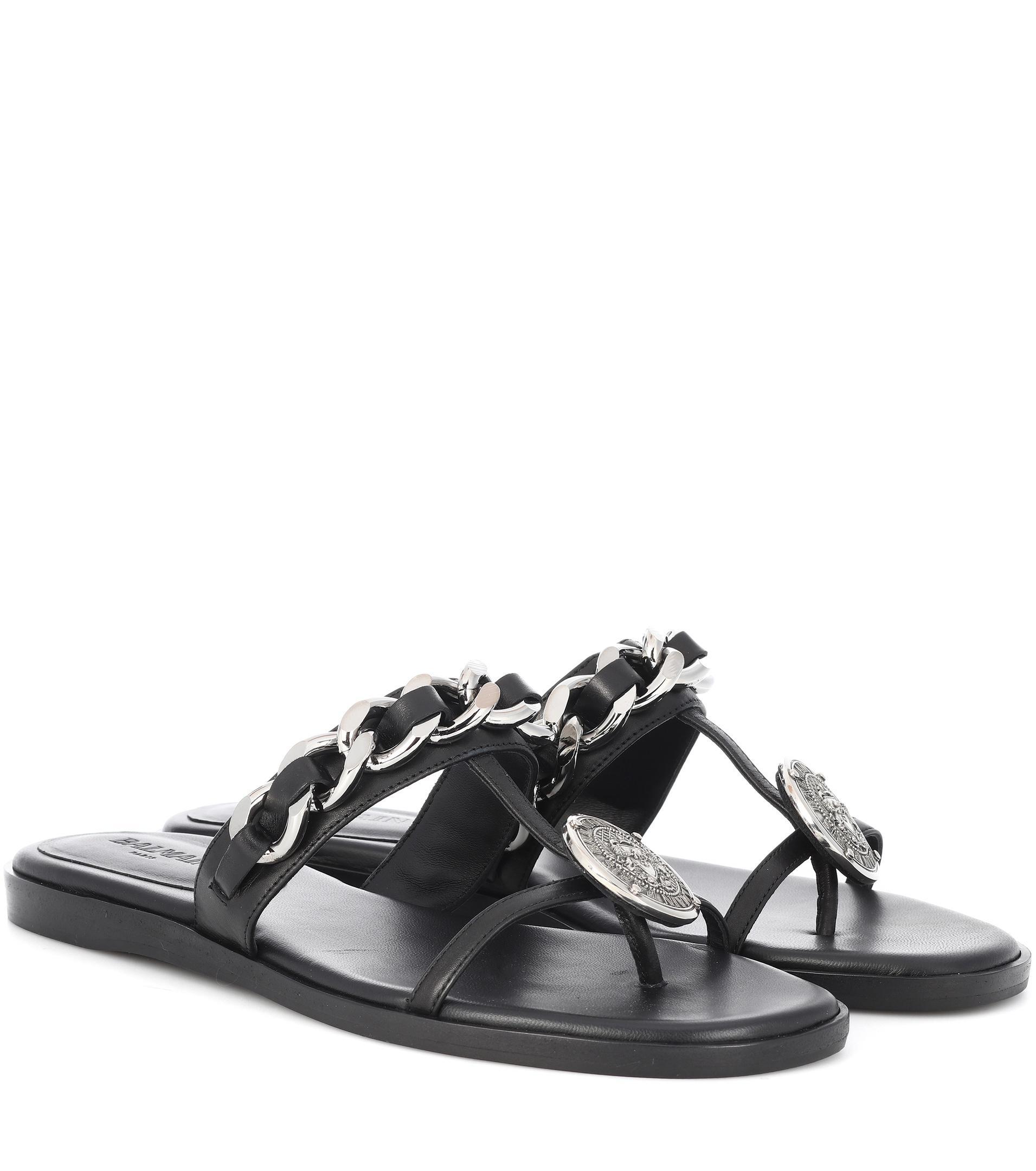 Embellished Leather Sandals - Black Balmain dnCXRpL9