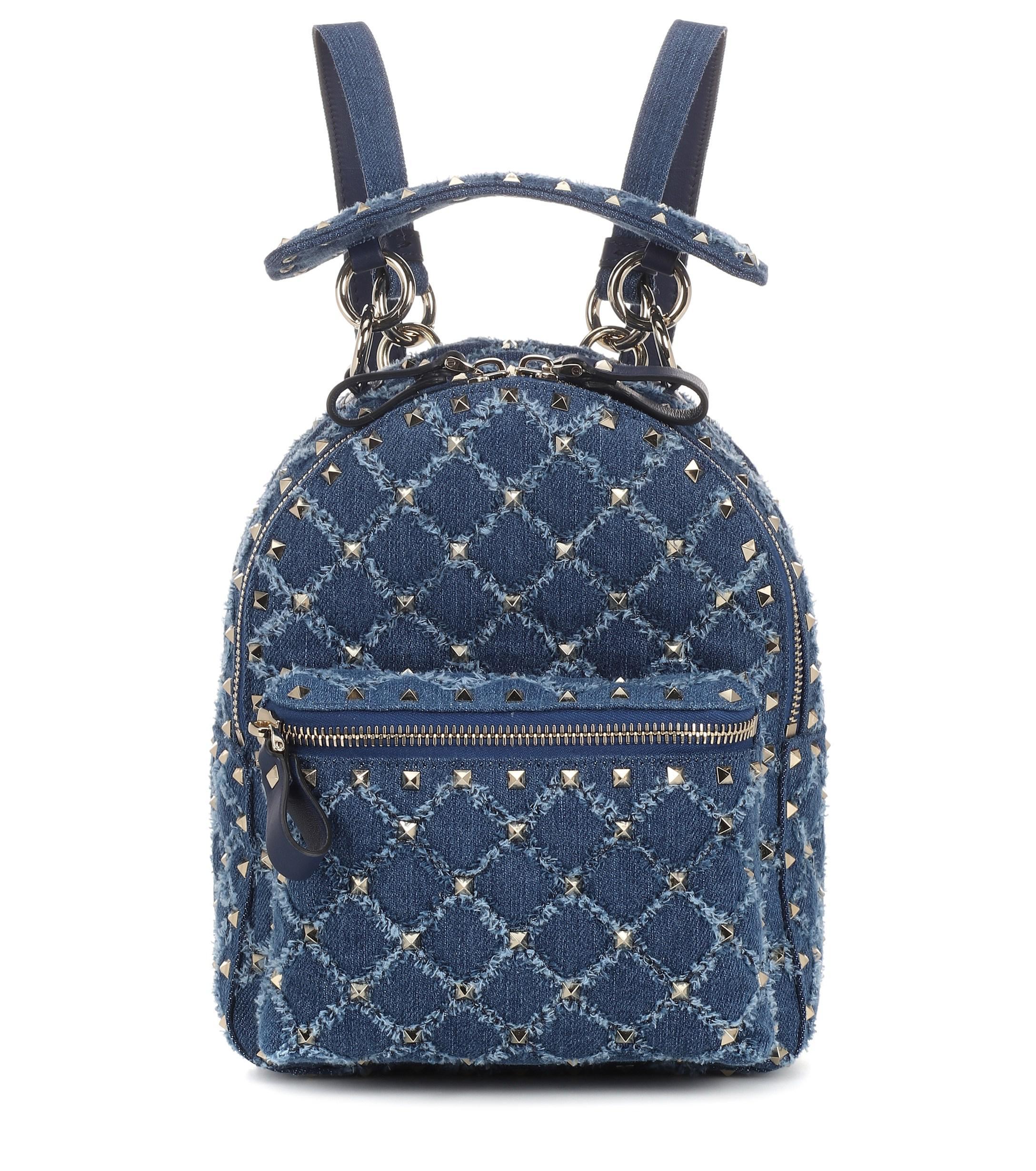 Valentino blue rockstud spike mini denim backpack view fullscreen jpg  2176x2460 Blue spike backpack bdb0e37f31a3b
