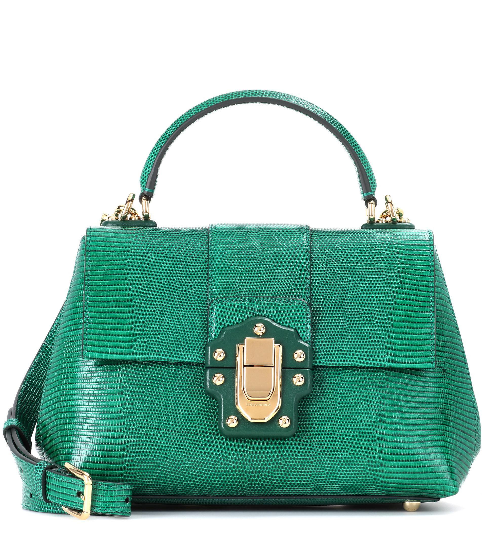 ecf262276d8c Lyst - Dolce   Gabbana Lucia Small Embossed Leather Shoulder Bag in ...