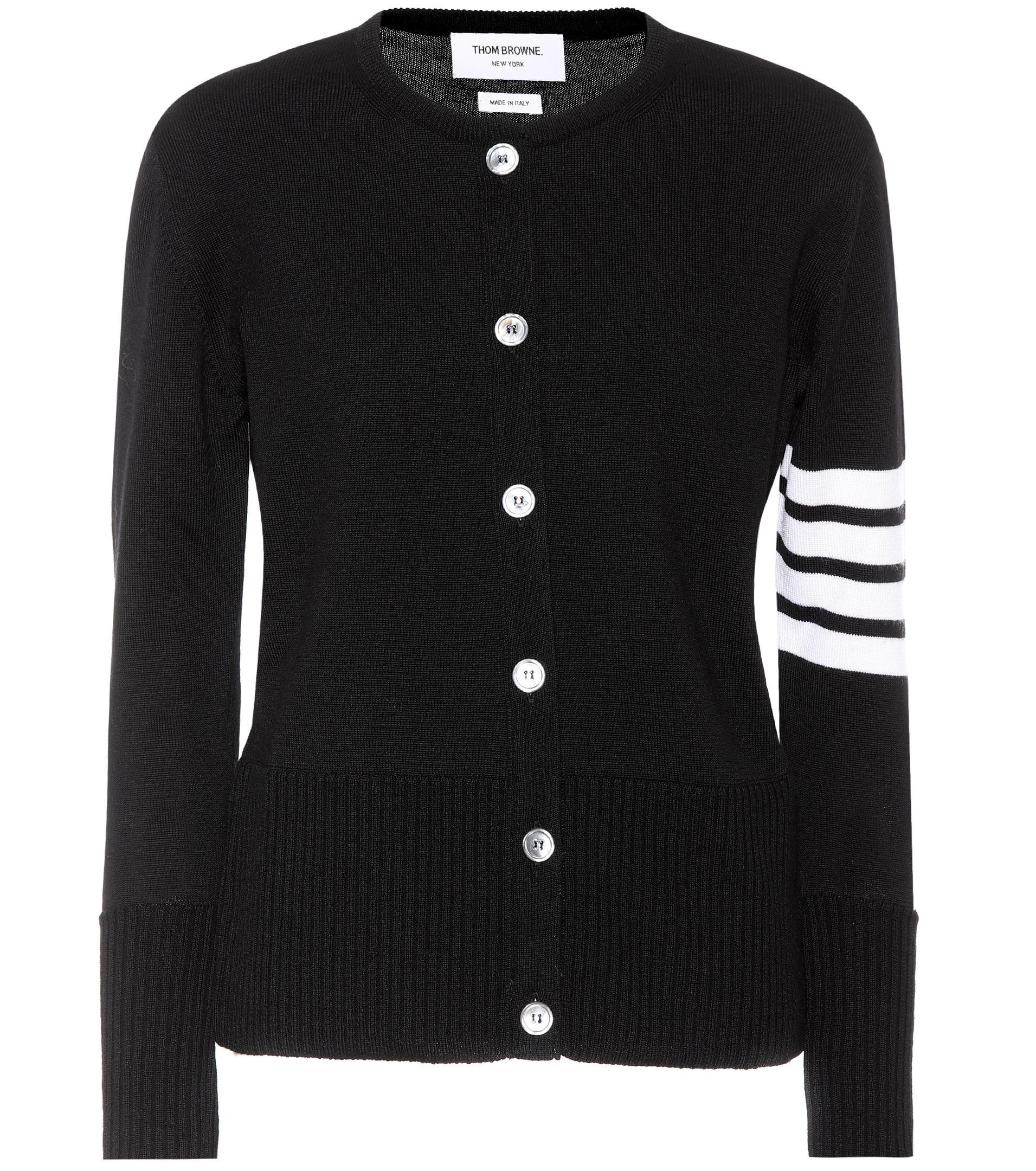 Thom browne Merino Wool Cardigan in Black | Lyst