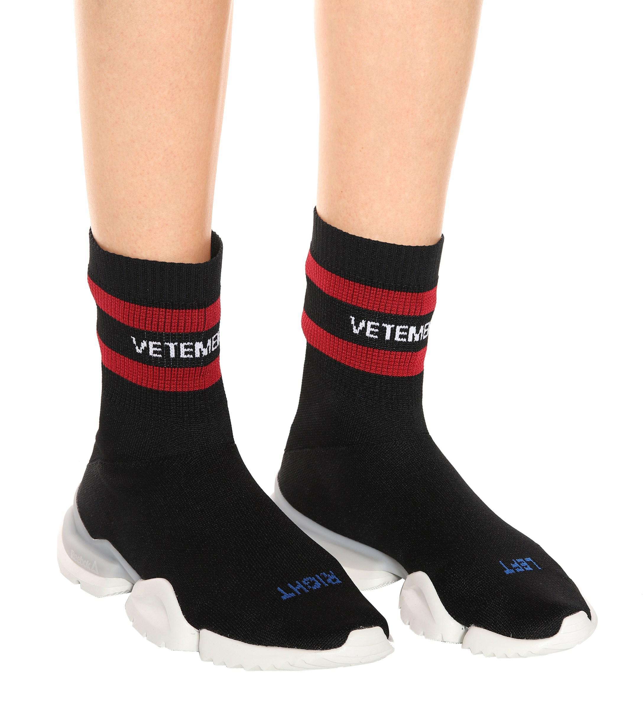73b82be34dbb Lyst - Vetements X Reebok Stretch-knit Sneakers in Black - Save 86%