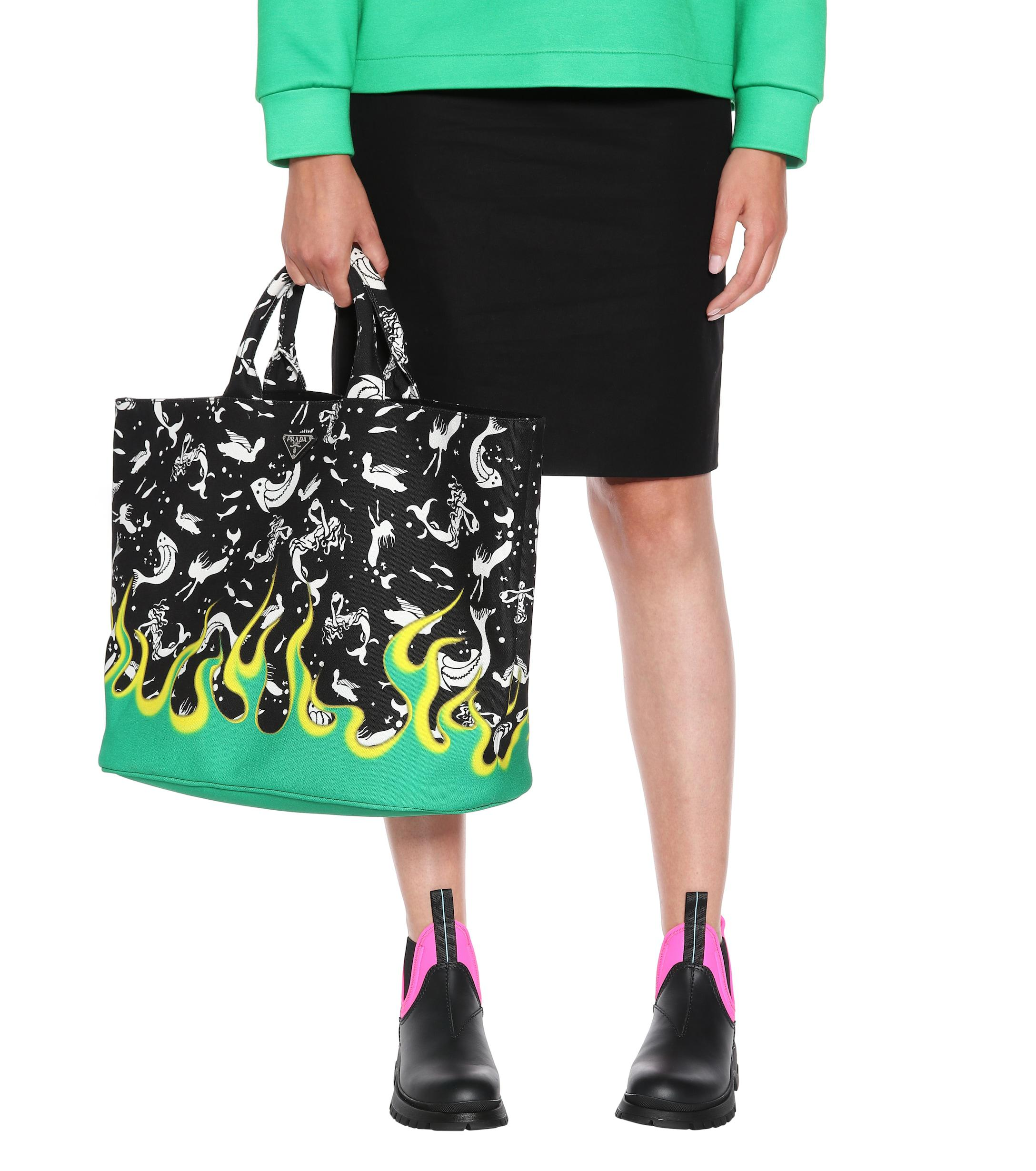 d8274b477c Lyst - Prada Exclusive To Mytheresa – Printed Canvas Tote in Black