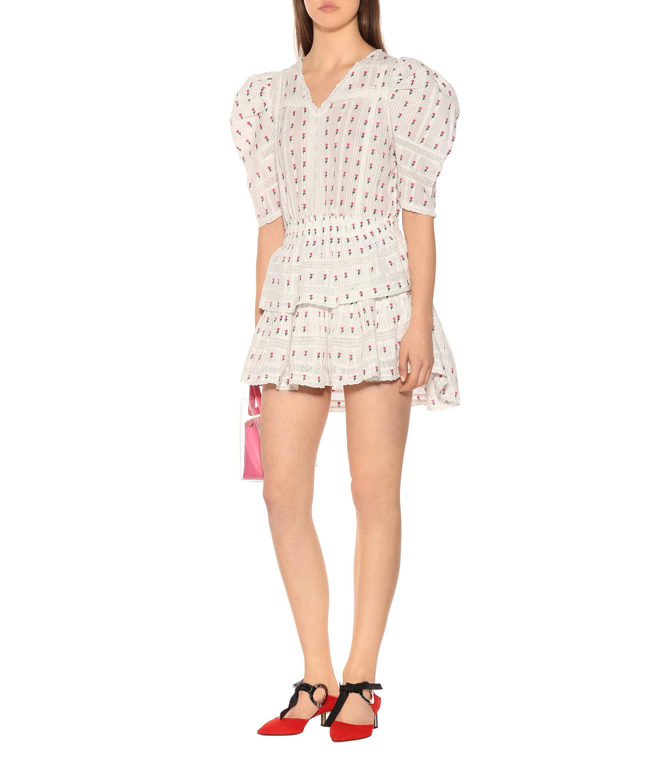 White In Embroidered Minidress Loveshackfancy Lyst Cotton xqCznwF
