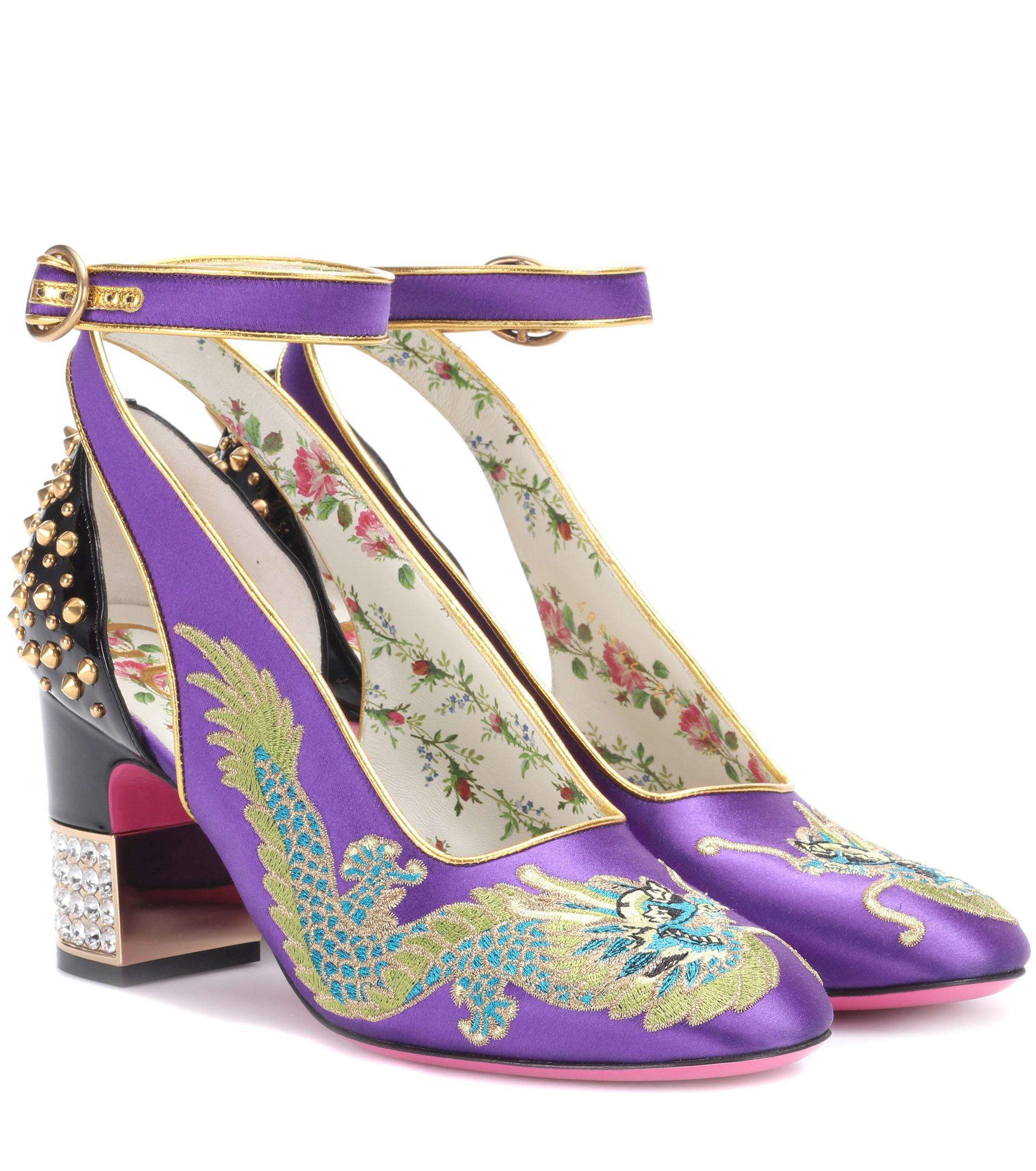 Zrse7c7PkaEmbroidered satin and leather pumps