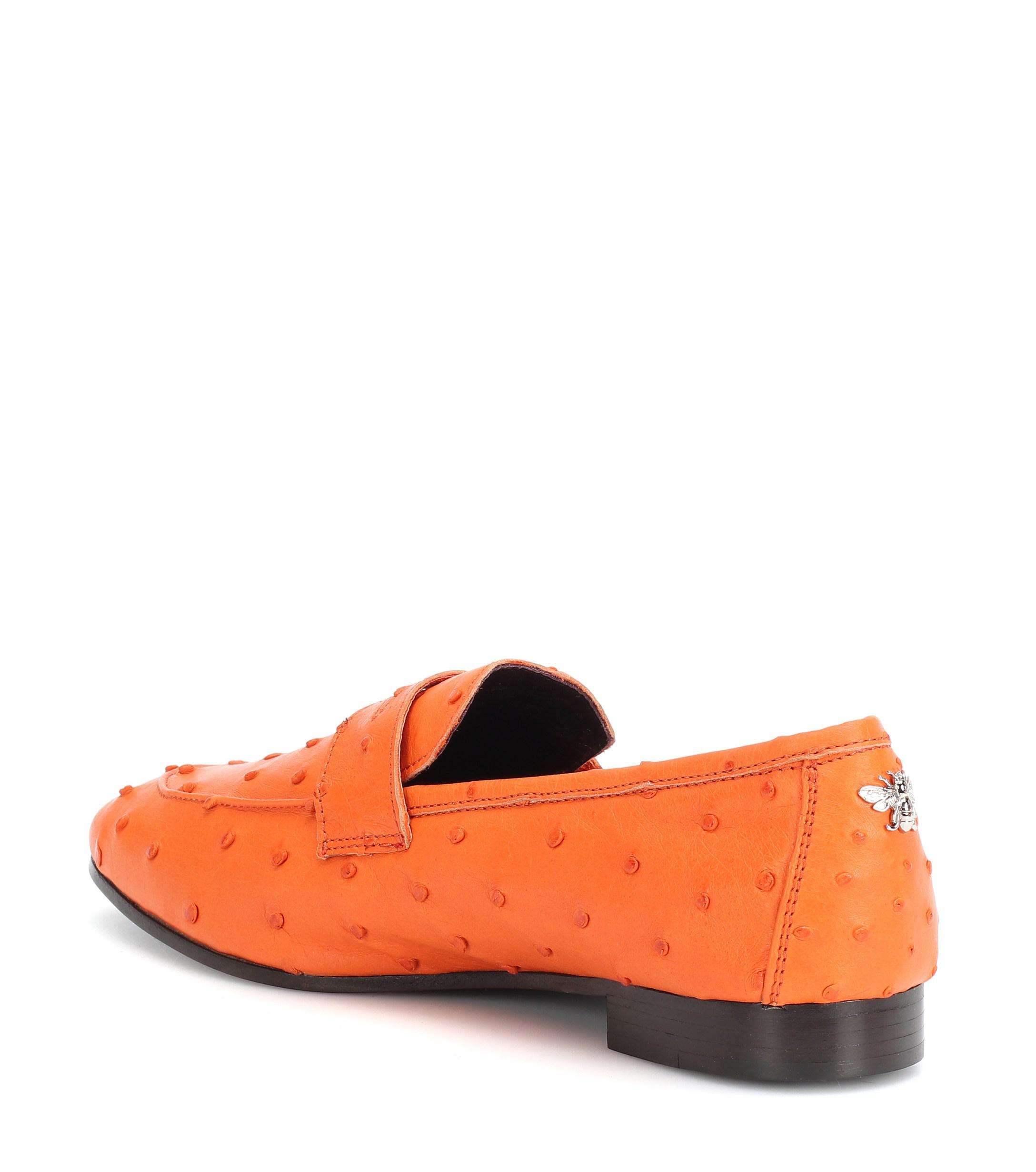 70886733e44 Bougeotte - Orange Exclusive To Mytheresa – Flaneur Ostrich Leather Loafers  - Lyst. View fullscreen