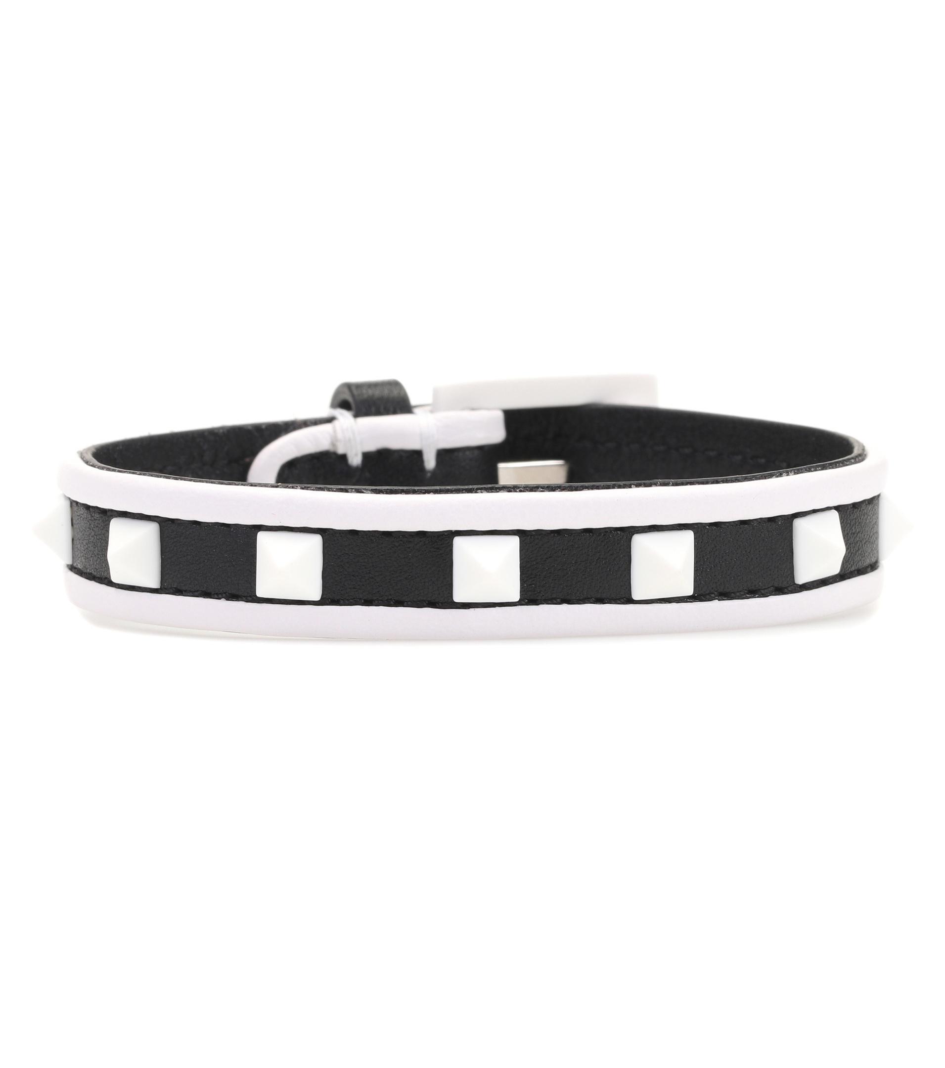 f2f1f8a8cb2e Valentino Garavani The Rockstud Leather And Silver-tone Bracelet - Black  Valentino