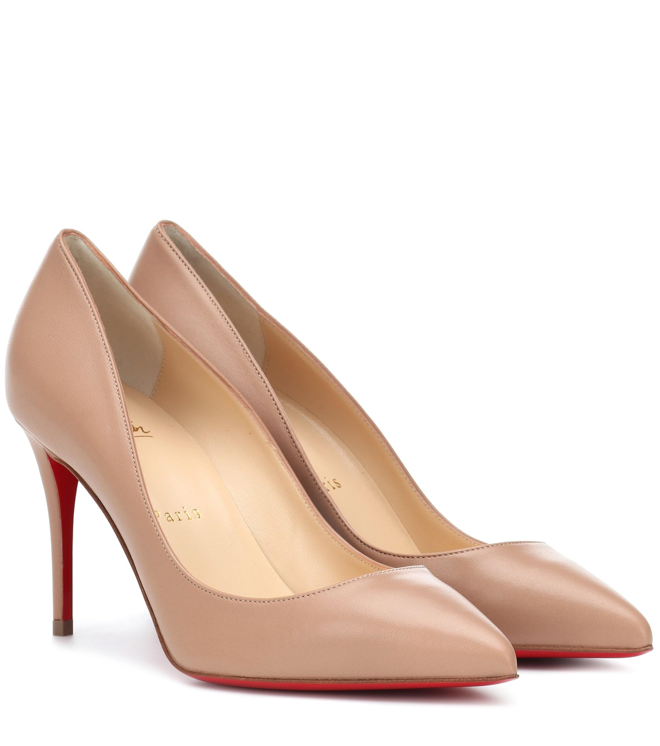24de7b6c69 Christian Louboutin Pigalle Follies 85 Leather Pumps in Natural - Lyst