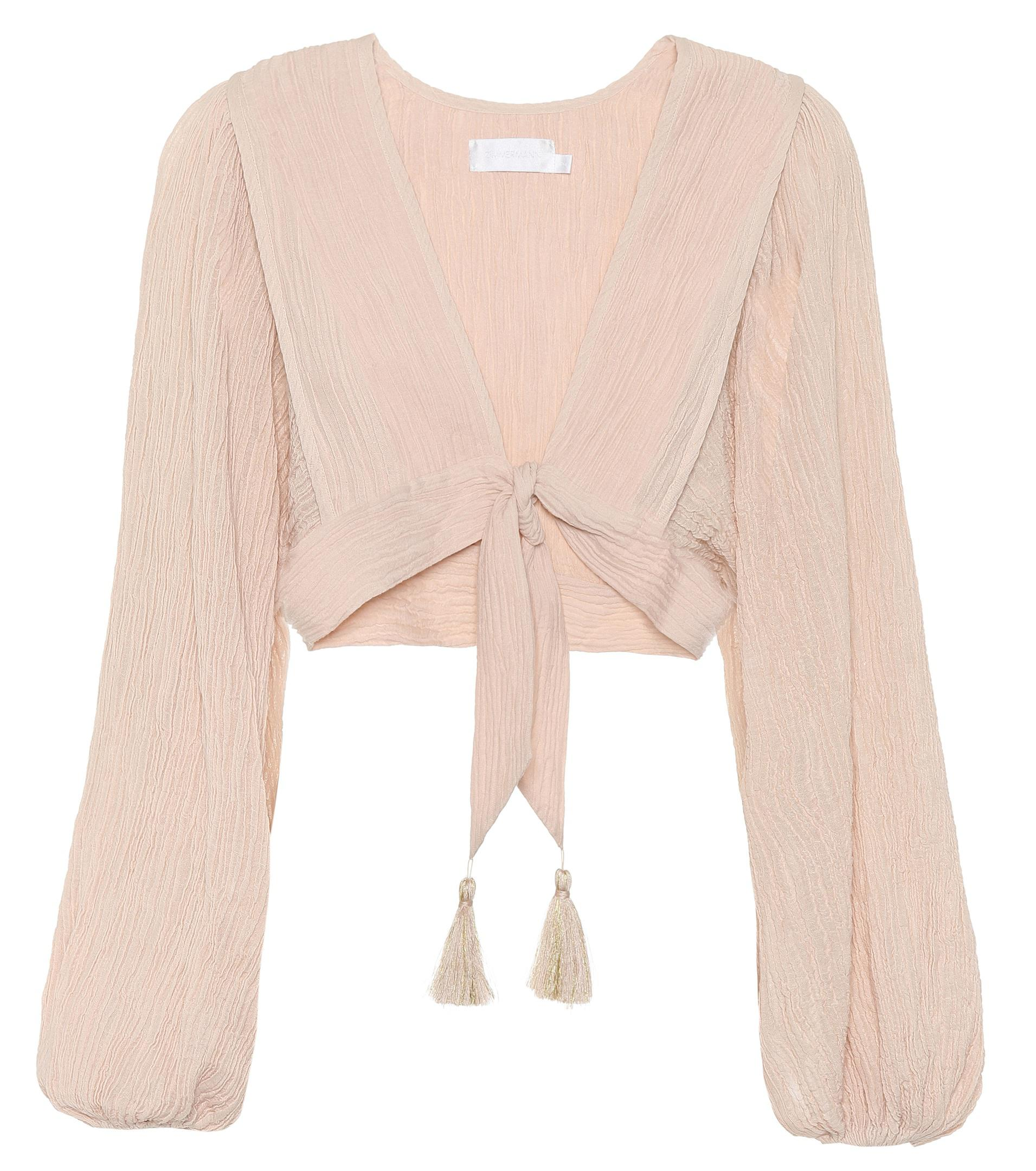 Crinkled cotton-blend tie top Zimmermann Buy Cheap Fashionable Free Shipping 100% Original Buy Cheap Exclusive xUzdn