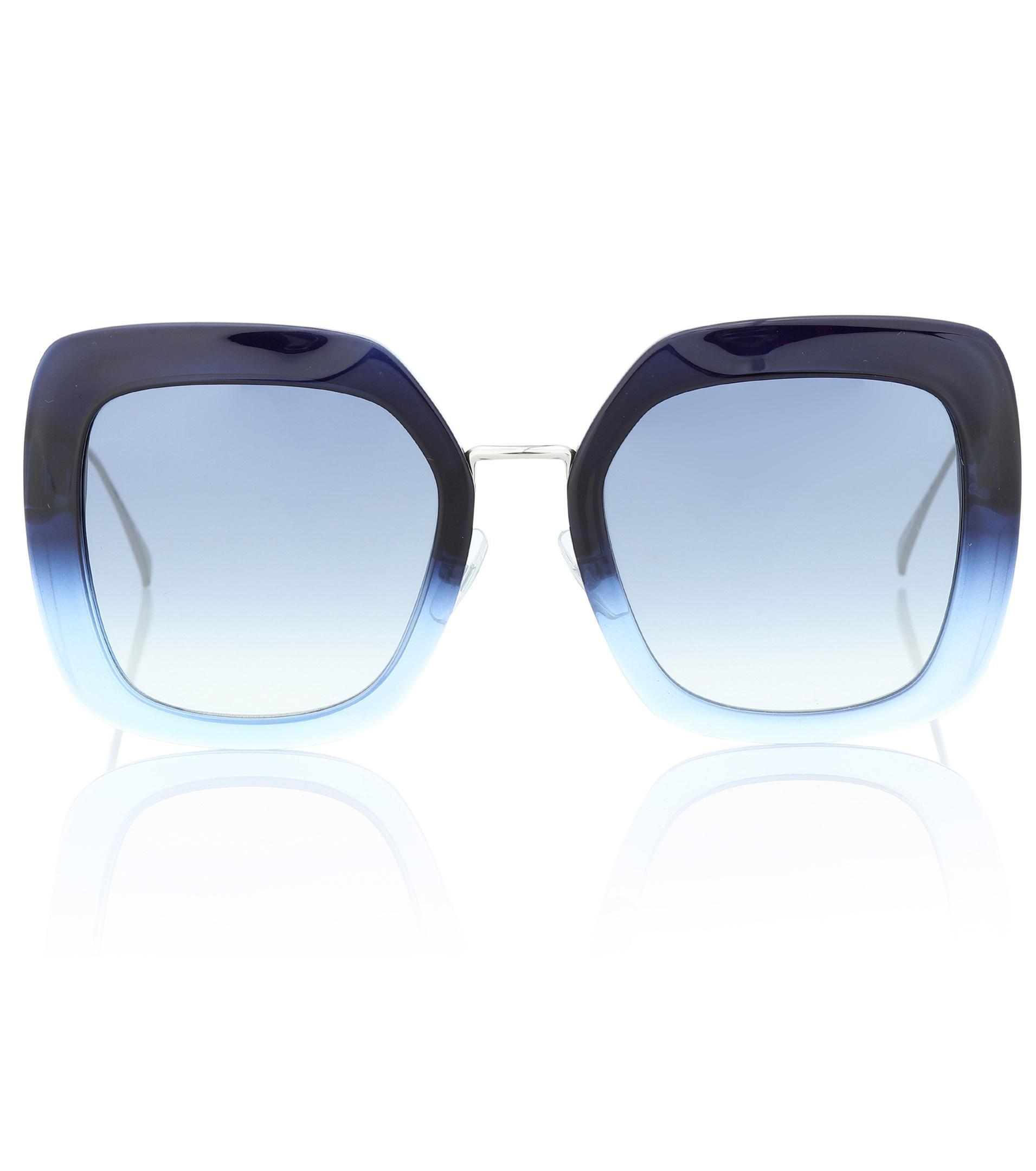 Blue In Shine Lyst Sunglasses Fendi Square Tropical ICXwx0qfq