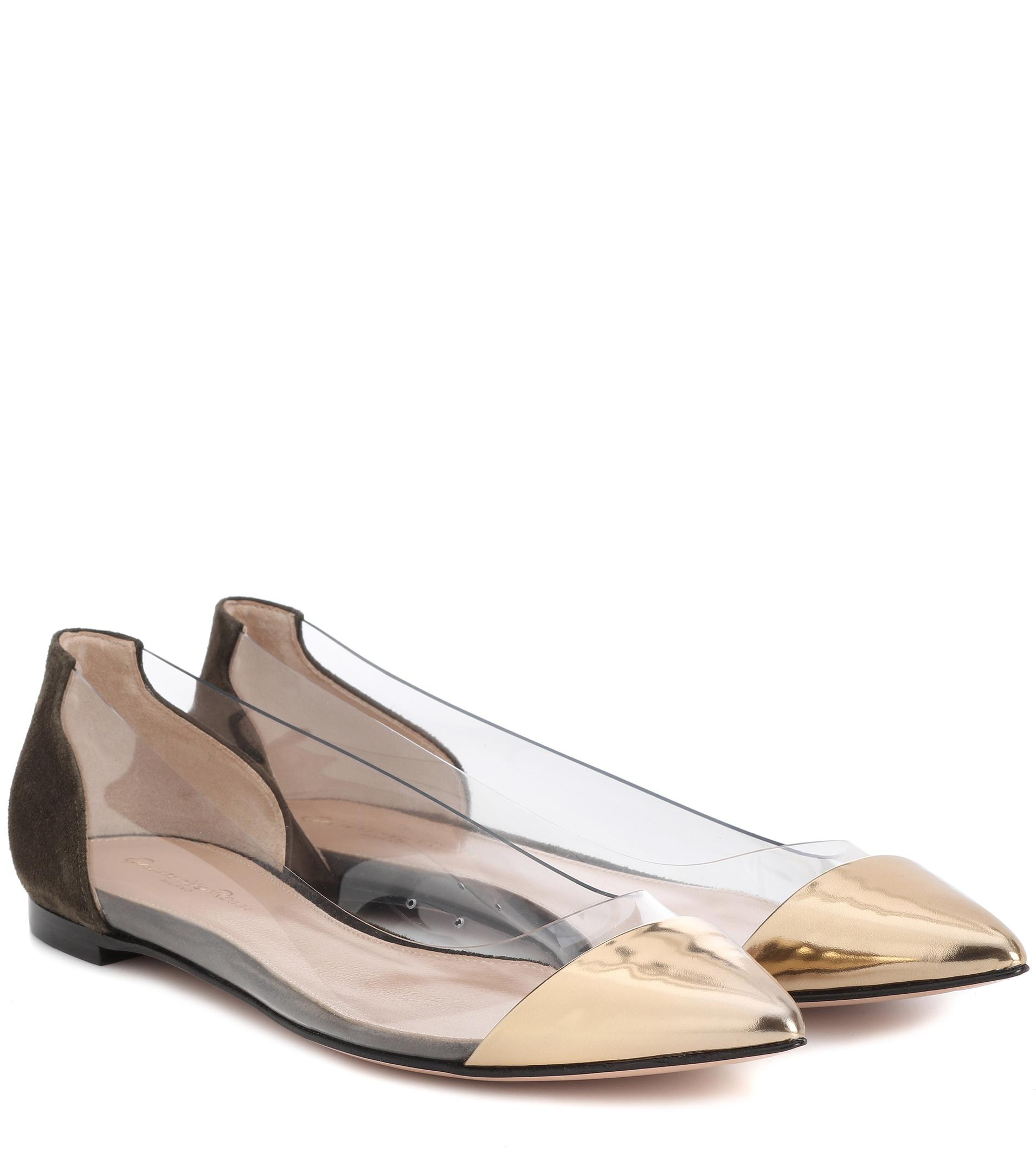 Gianvito Rossi Exclusive to mytheresa.com – Plexi leather and suede ballerinas pre order for sale outlet discount latest collections QvVbL
