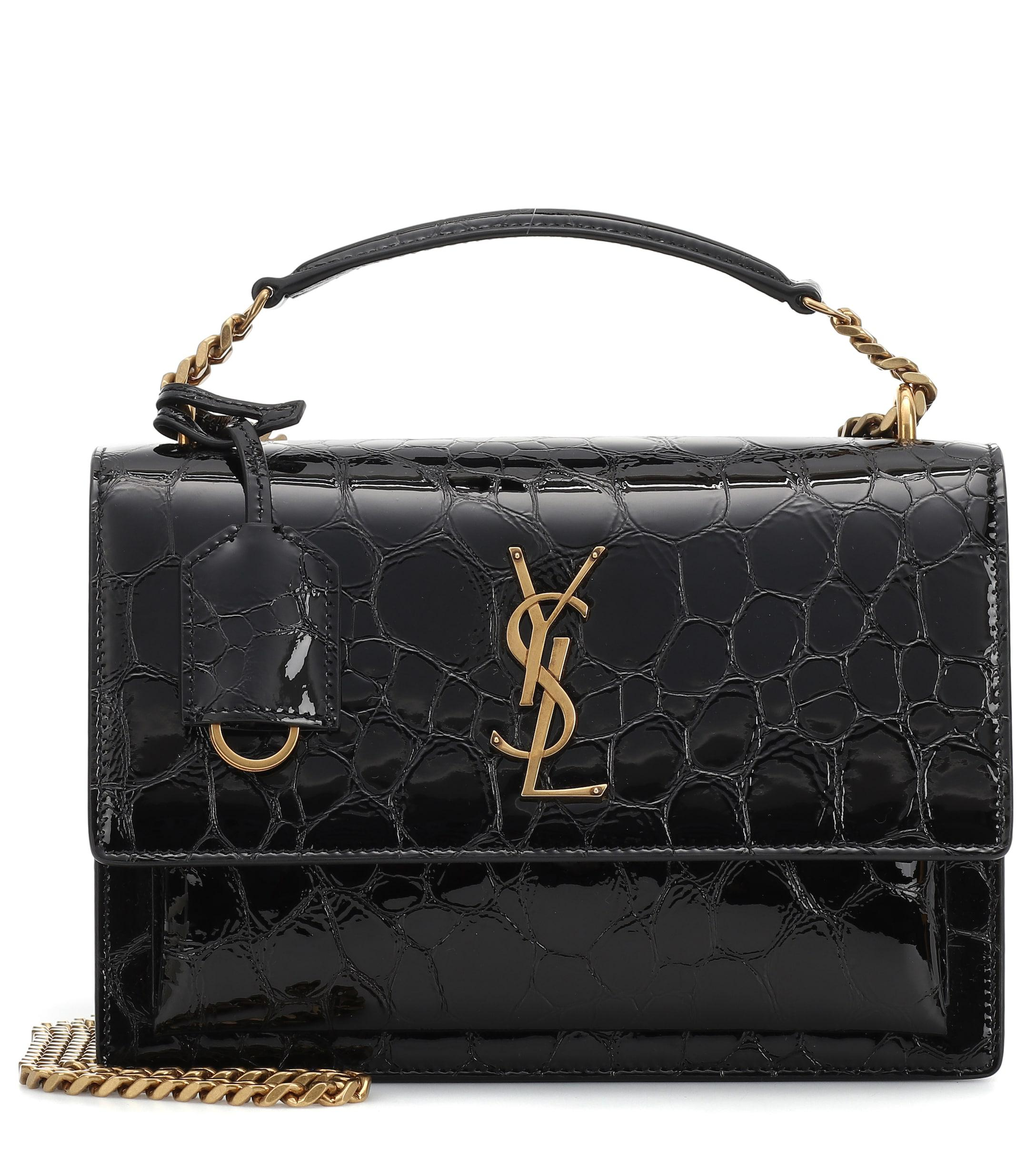 4b25dc578a Lyst - Saint Laurent Medium Sunset Monogram Shoulder Bag in Black