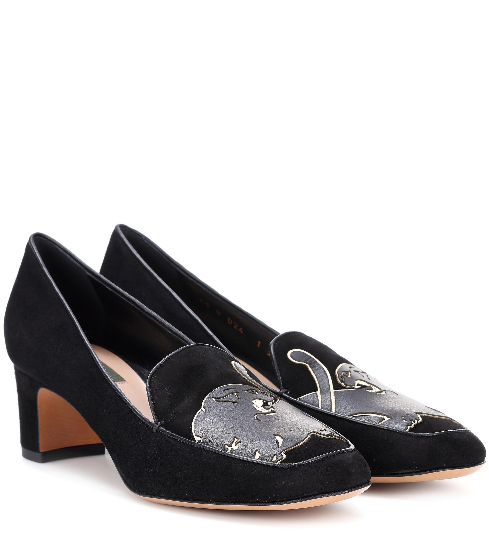 Black Snakeskin Court Shoes