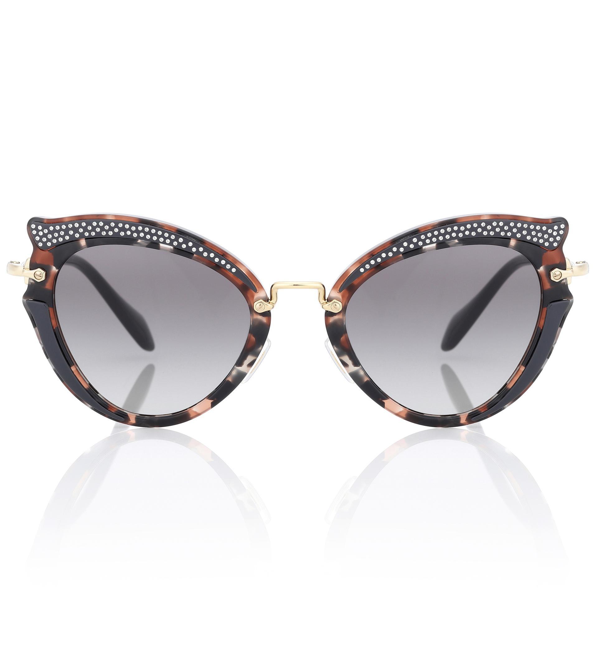 9f9ecb9453be Lyst - Miu Miu Noir Embellished Cat-eye Sunglasses in Brown