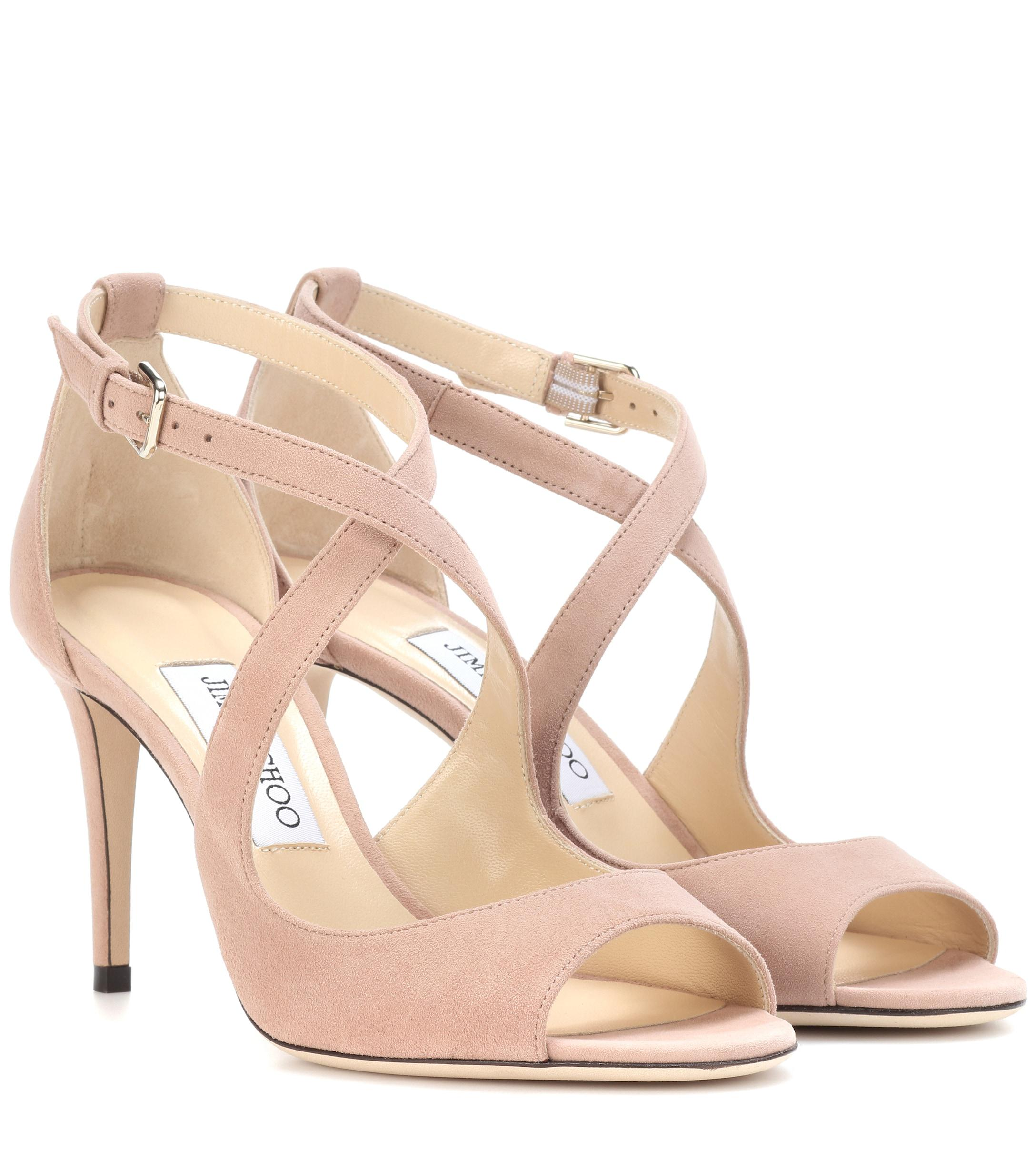 040aba7763a9 Lyst - Jimmy Choo Emily 85 Suede Sandals in Pink