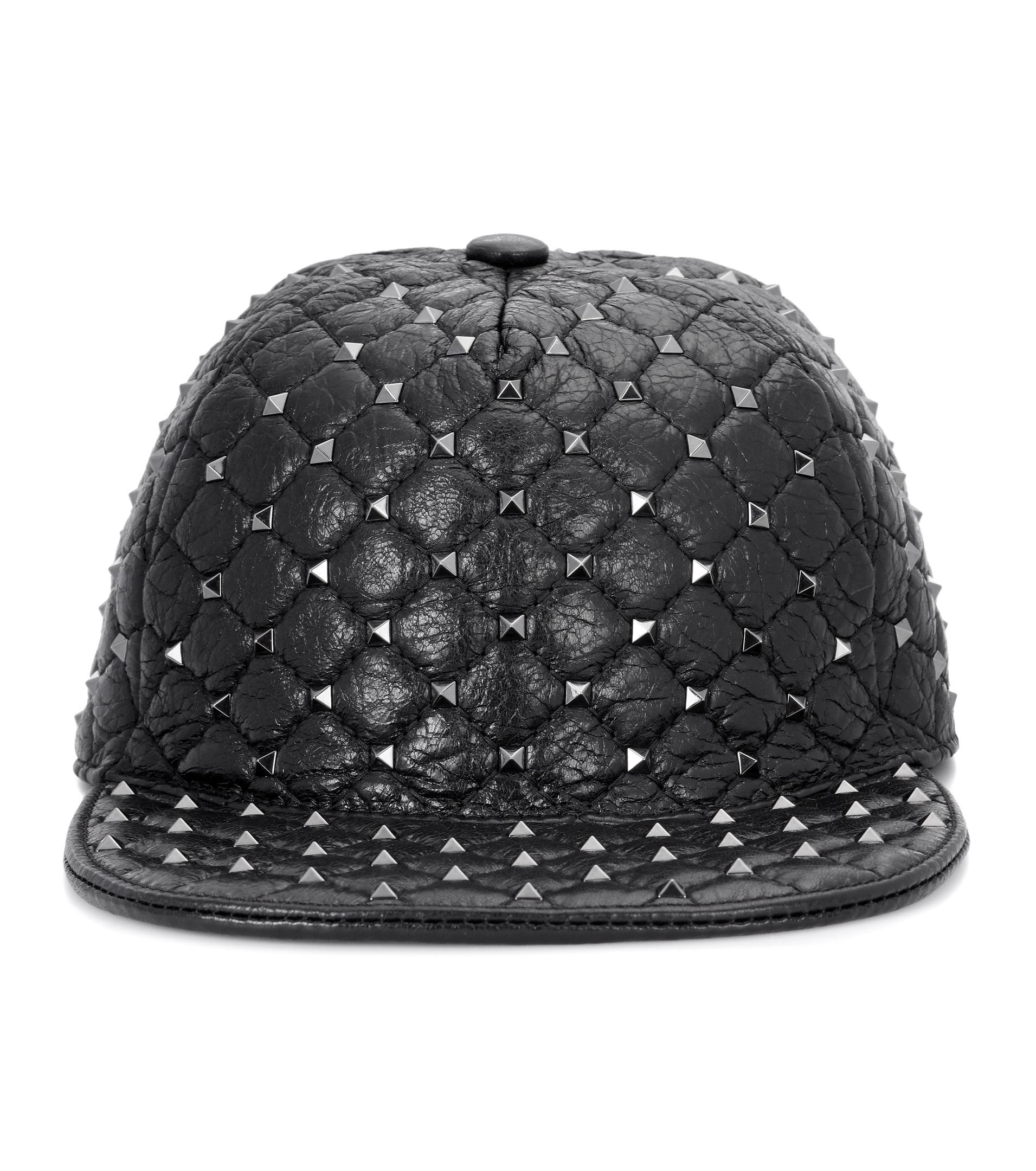 c58e924a063 Lyst - Valentino Rockstud Leather Hat in Black