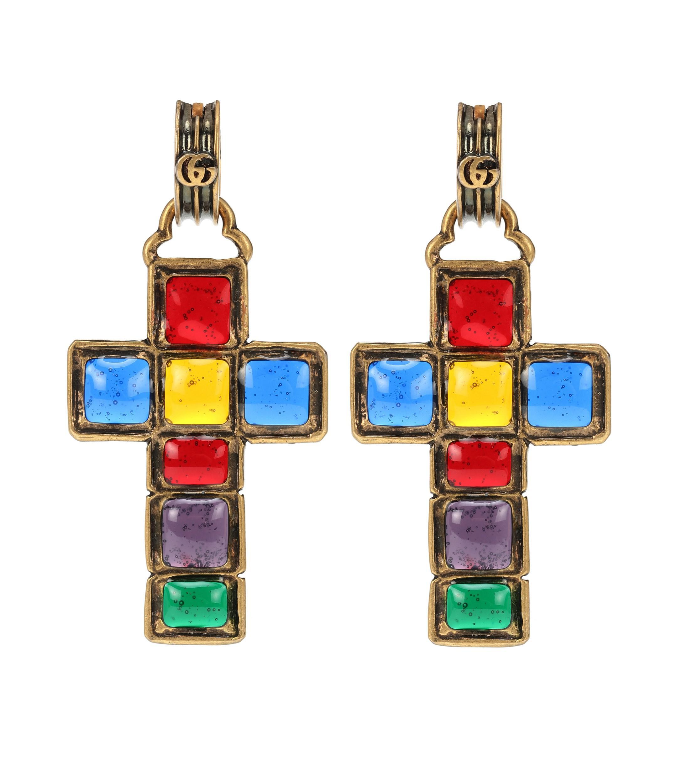 4c8fe0a4371 Lyst - Gucci Cross Pendant Earrings in Blue