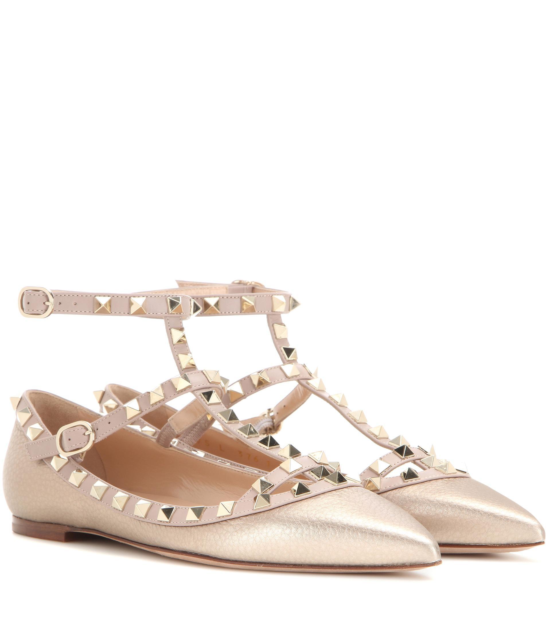 Garavani Rockstud metallic leather ballerinas Valentino AxEsvL