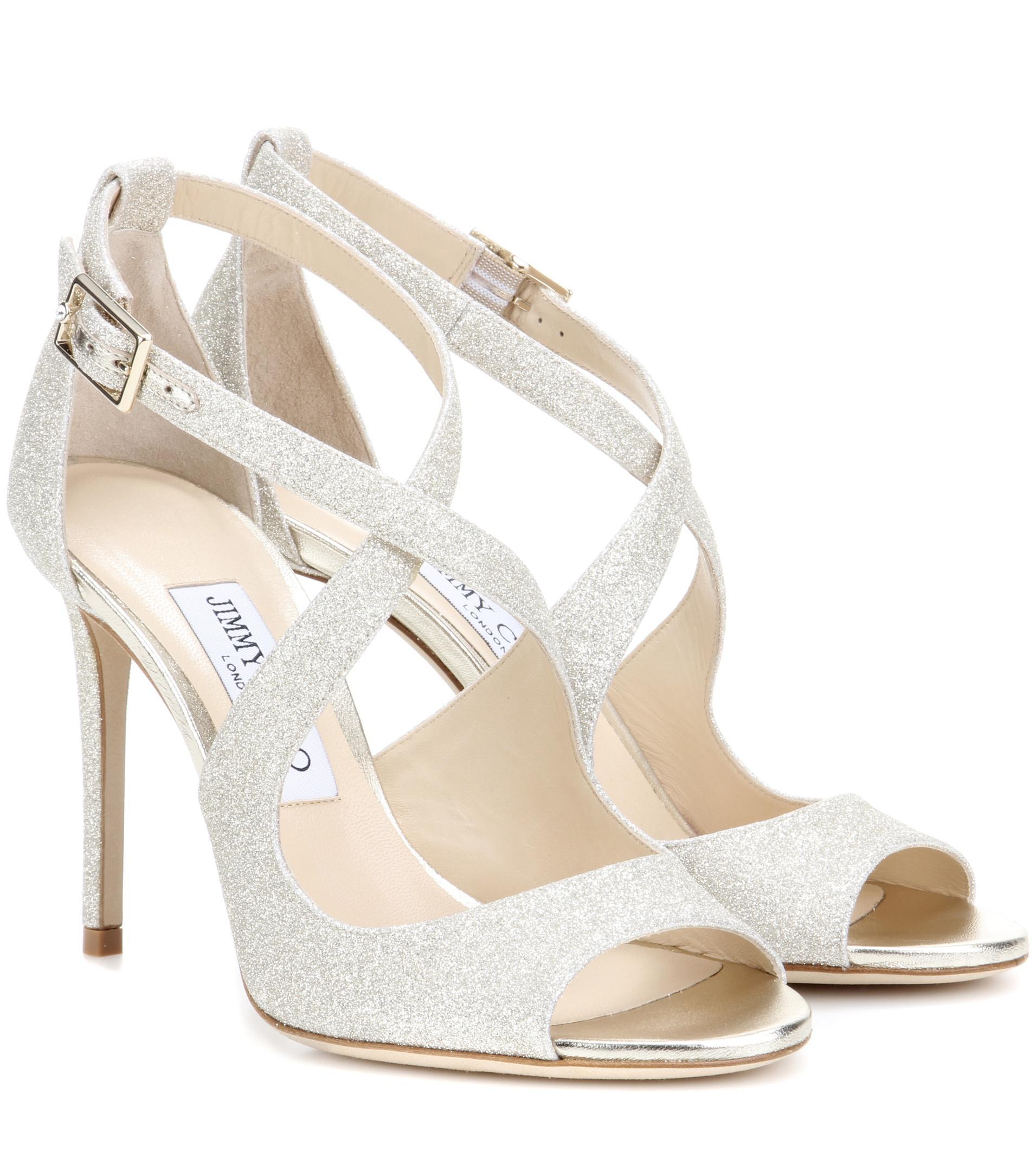 2769a657e2c Lyst - Jimmy Choo Emily 100 Glitter Sandals in Metallic