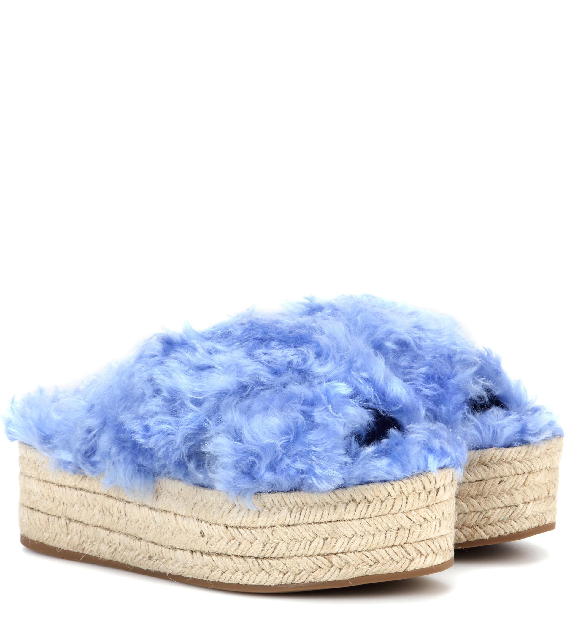 Miu Miu Faux fur platform espadrille sandals sFwpaymvNO