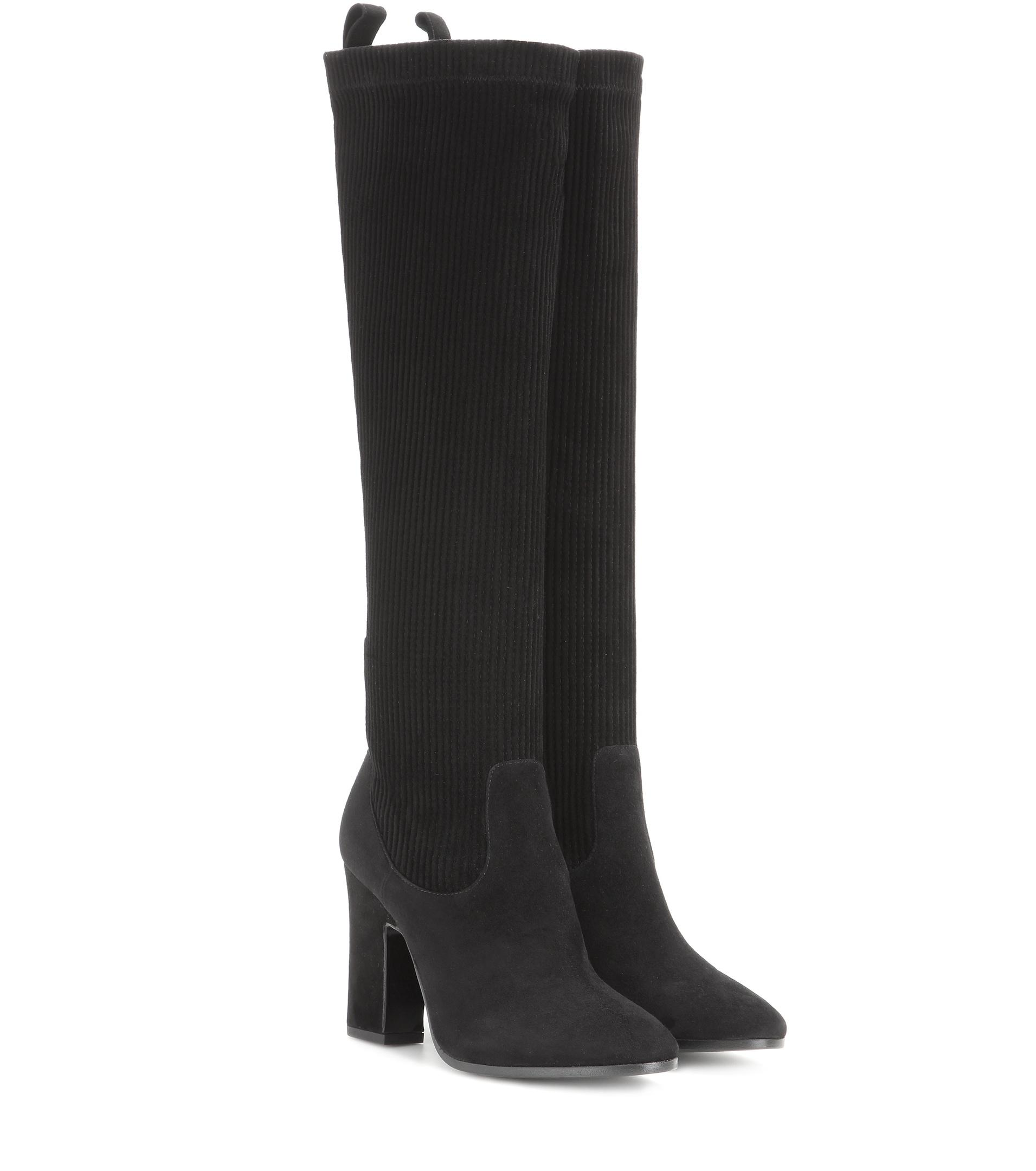 Pierre hardy Suede Knee-high Boots in Black