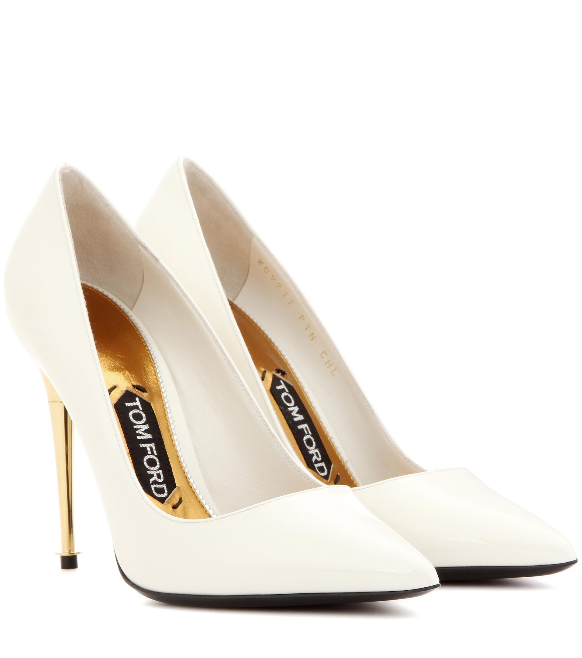 tom ford patent leather pumps in white lyst