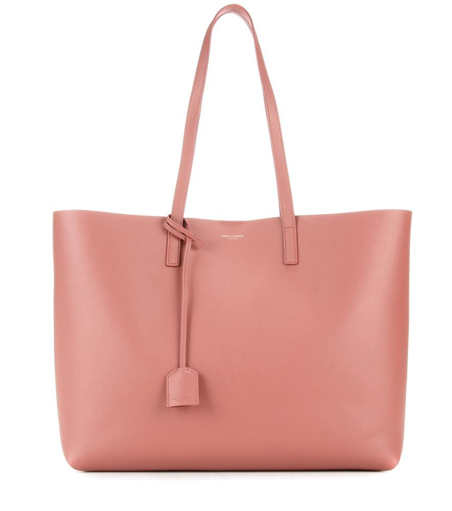 lyst saint laurent leather shopper in pink. Black Bedroom Furniture Sets. Home Design Ideas