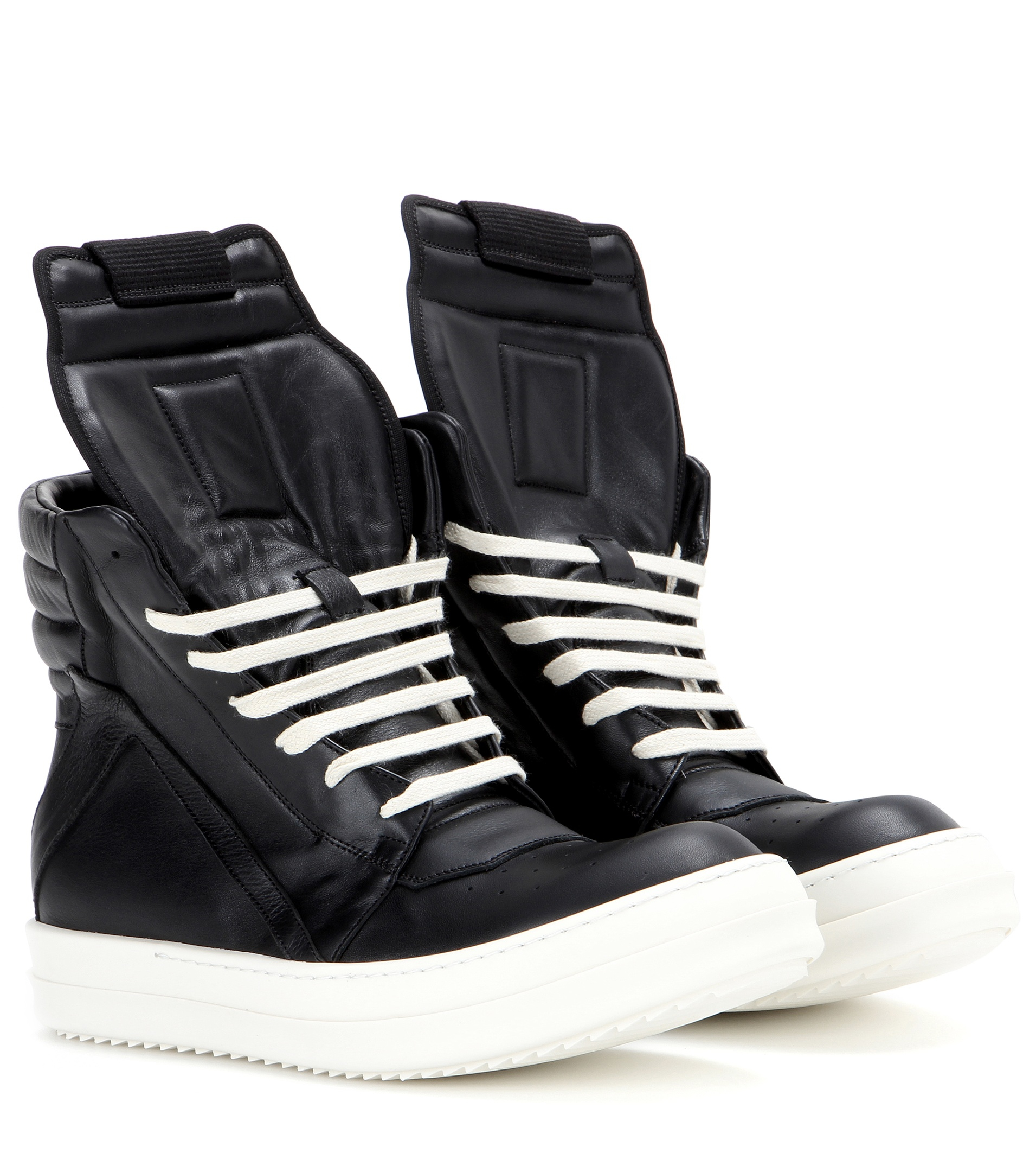 rick owens geobasket leather high top trainers in black lyst. Black Bedroom Furniture Sets. Home Design Ideas
