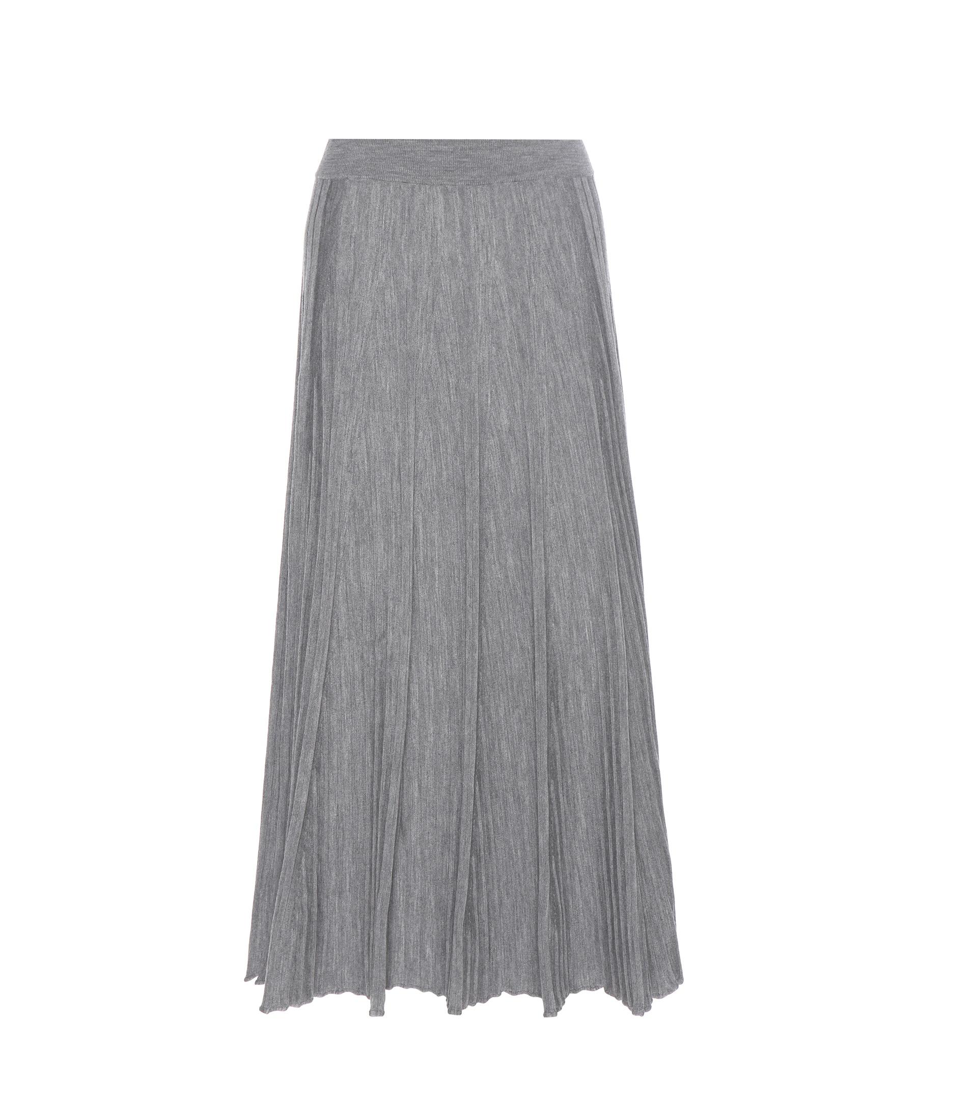 chlo 233 wool midi skirt in gray lyst