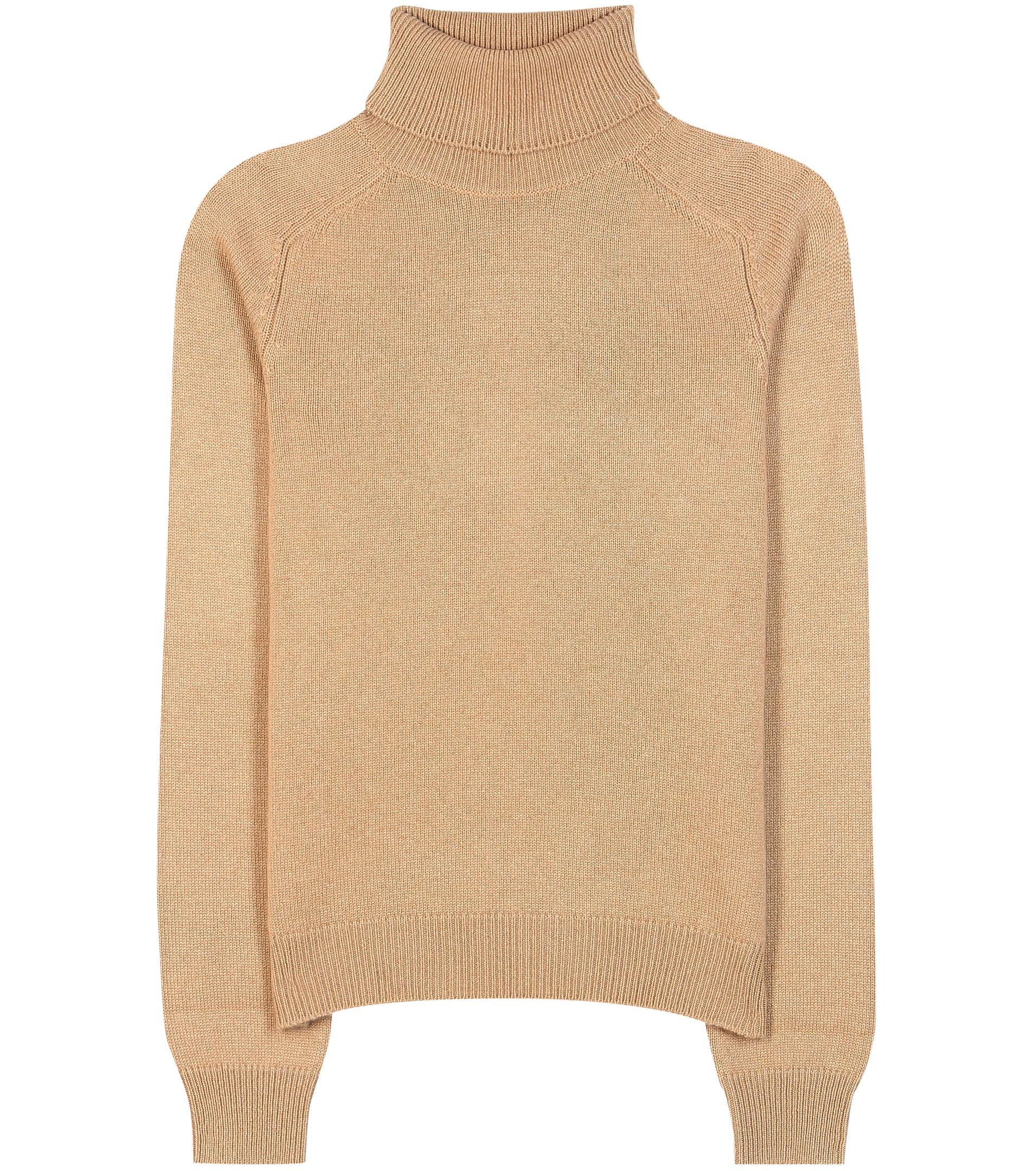 Camel cashmere turtleneck sweater by saint laurent color natural