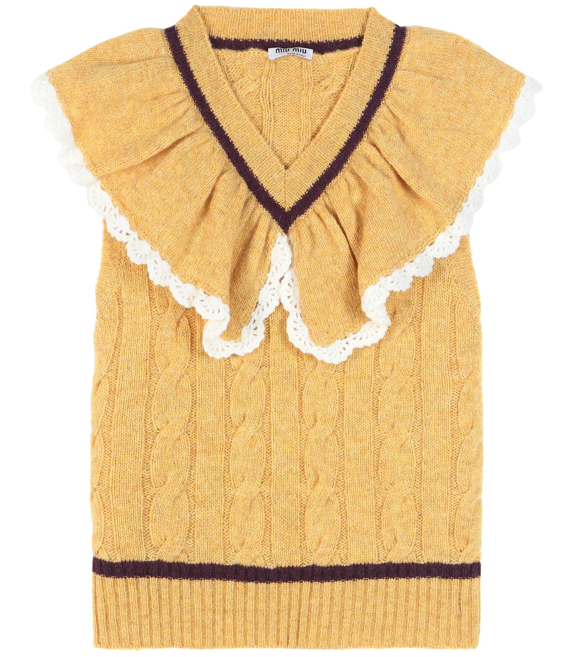 Miu miu Ruffled Wool Sweater Vest in Yellow | Lyst