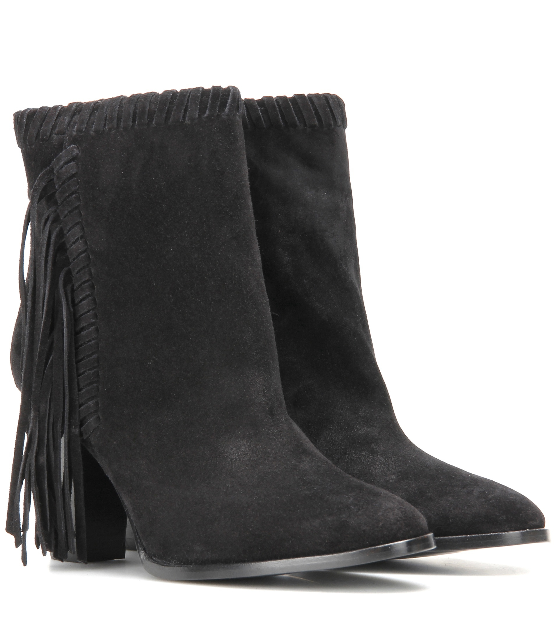 polo ralph sade fringed suede ankle boots in black