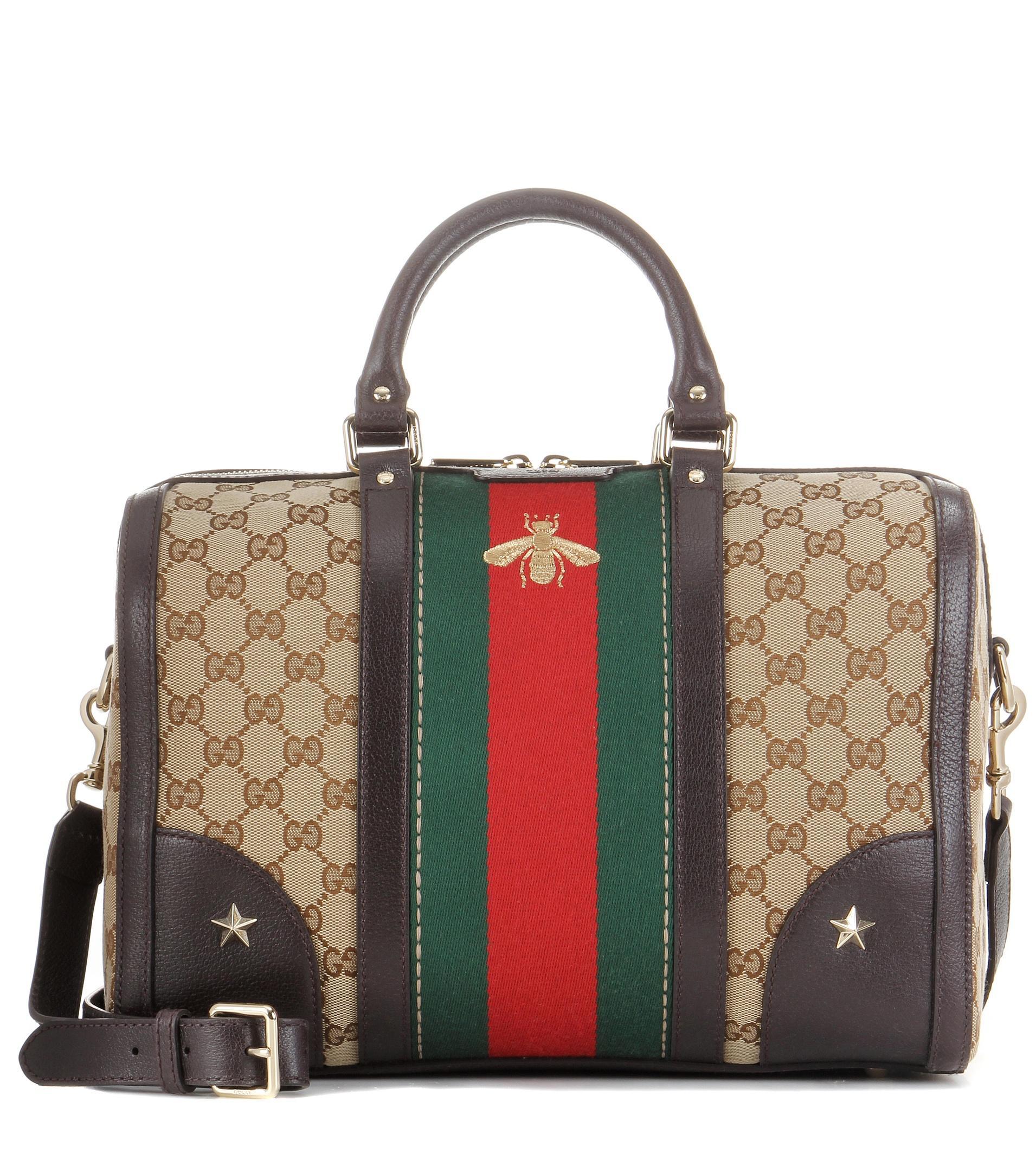 Gucci Vintage Web Medium Coated Canvas Shoulder Bag In Red