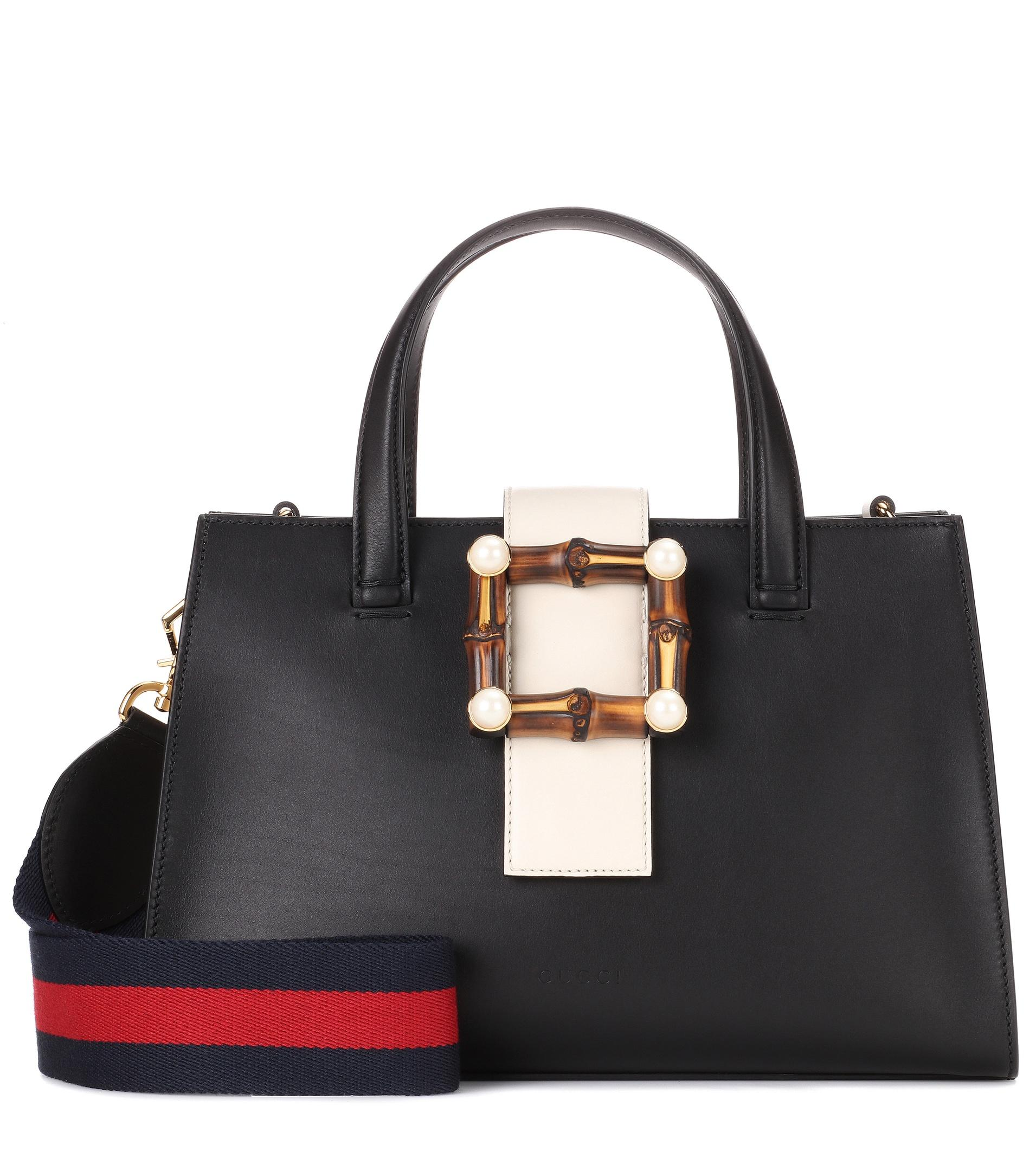 ae622579c7b Lyst - Gucci Nymphaea Small Embellished Leather Tote in Black