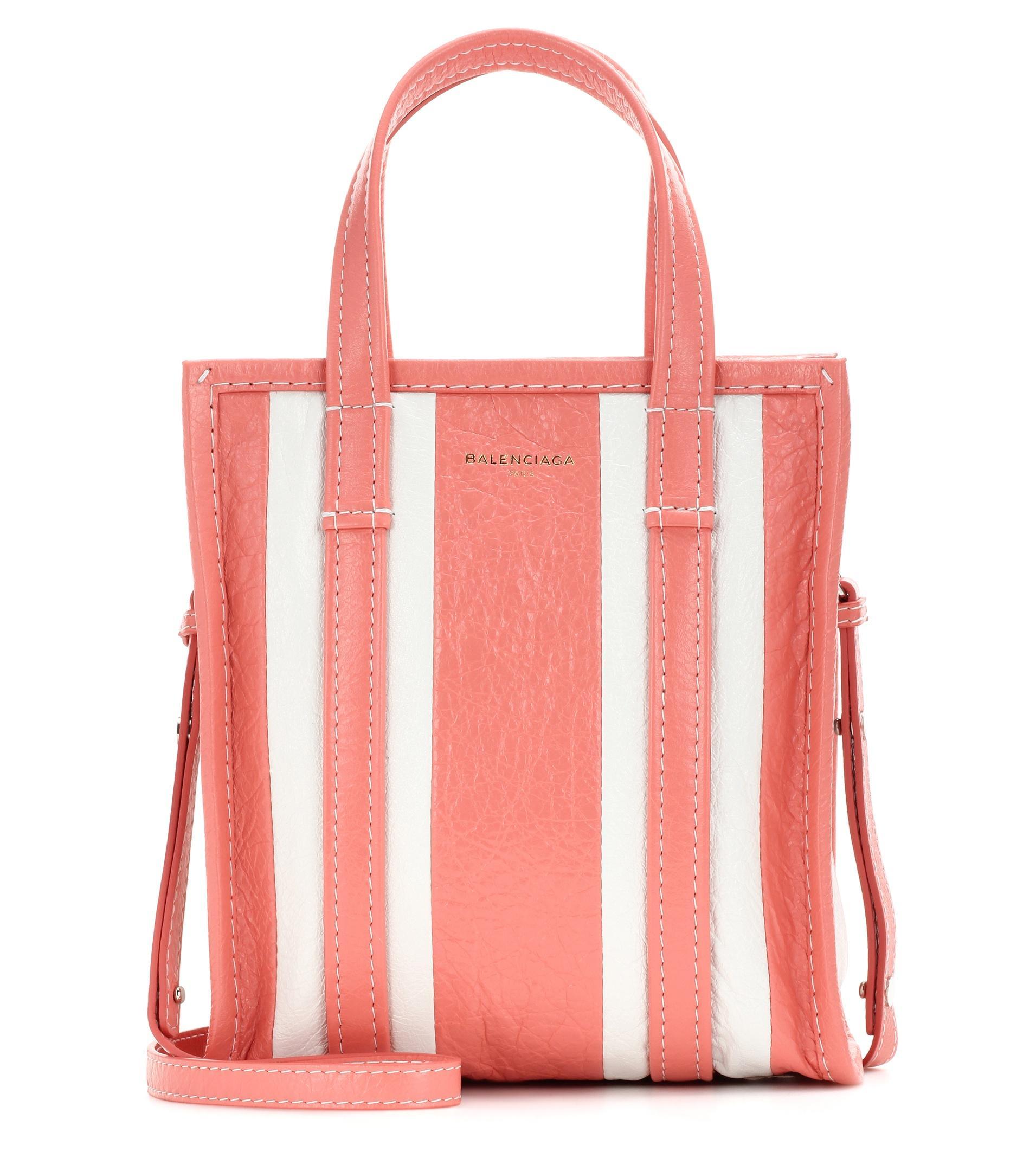 908435b58 Balenciaga Bazar Shopper XS Striped Leather Tote Bag in Pink - Lyst