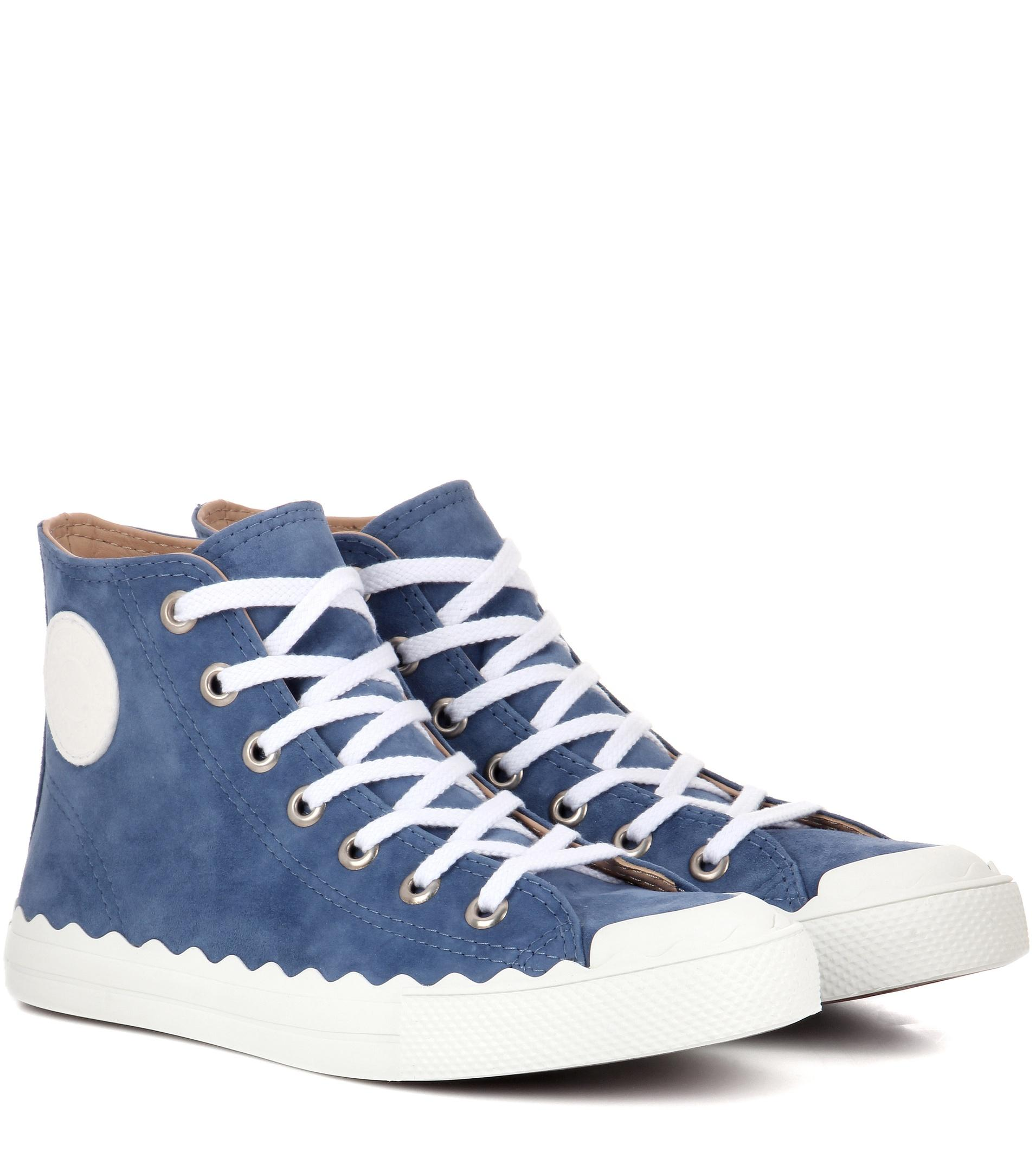 chlo kyle suede high top sneakers in blue lyst. Black Bedroom Furniture Sets. Home Design Ideas