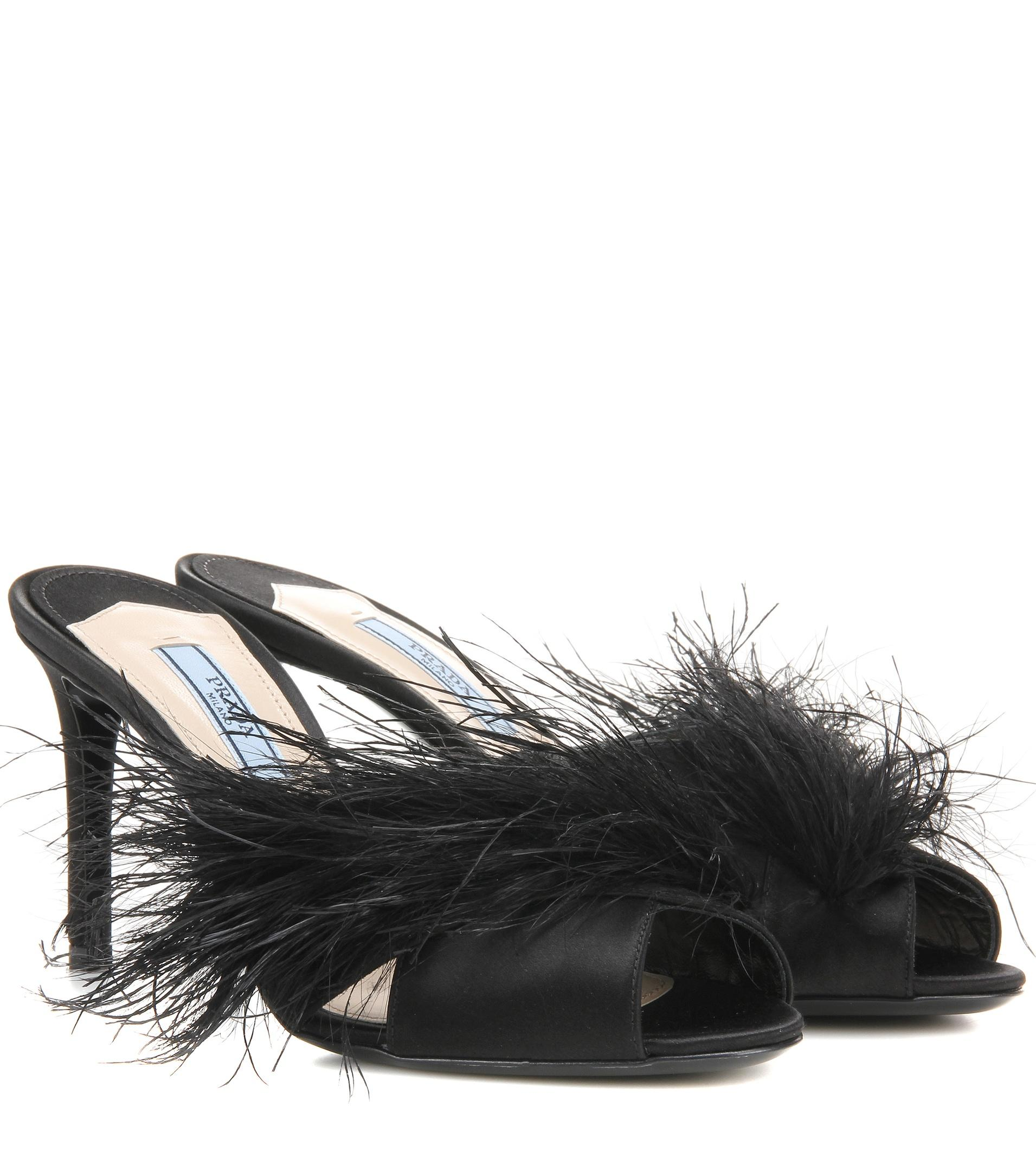 Lyst Prada Feather Trimmed Satin Mules In Black