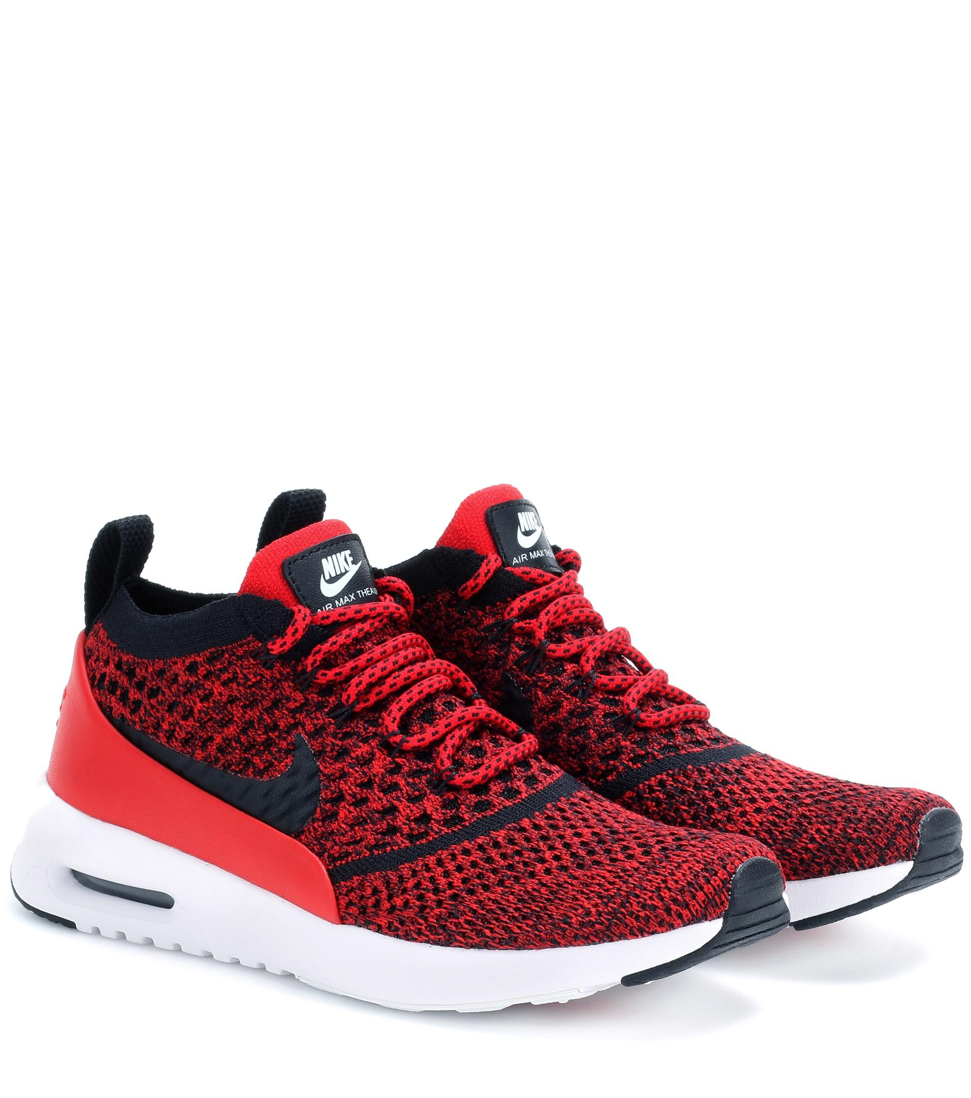 nike air max thea ultra flyknit sneakers in red lyst. Black Bedroom Furniture Sets. Home Design Ideas