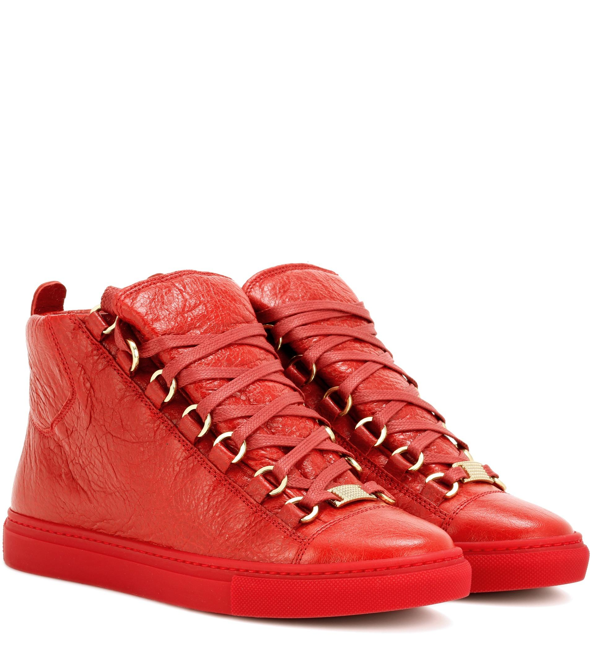 lyst balenciaga arena hightop leather sneakers in red