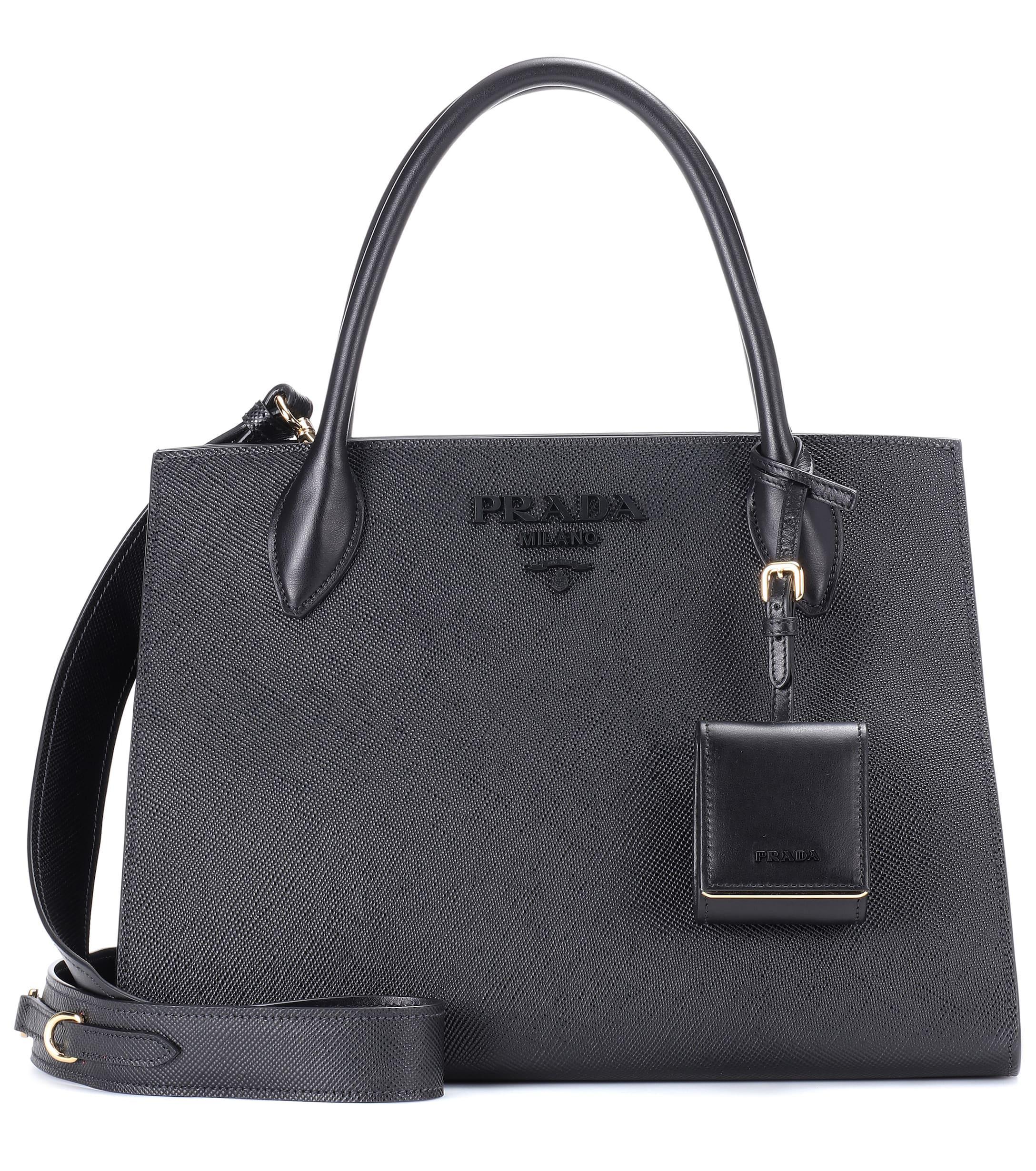 27ce9ad1e1b4 Lyst - Prada Saffiano Leather Tote in Black